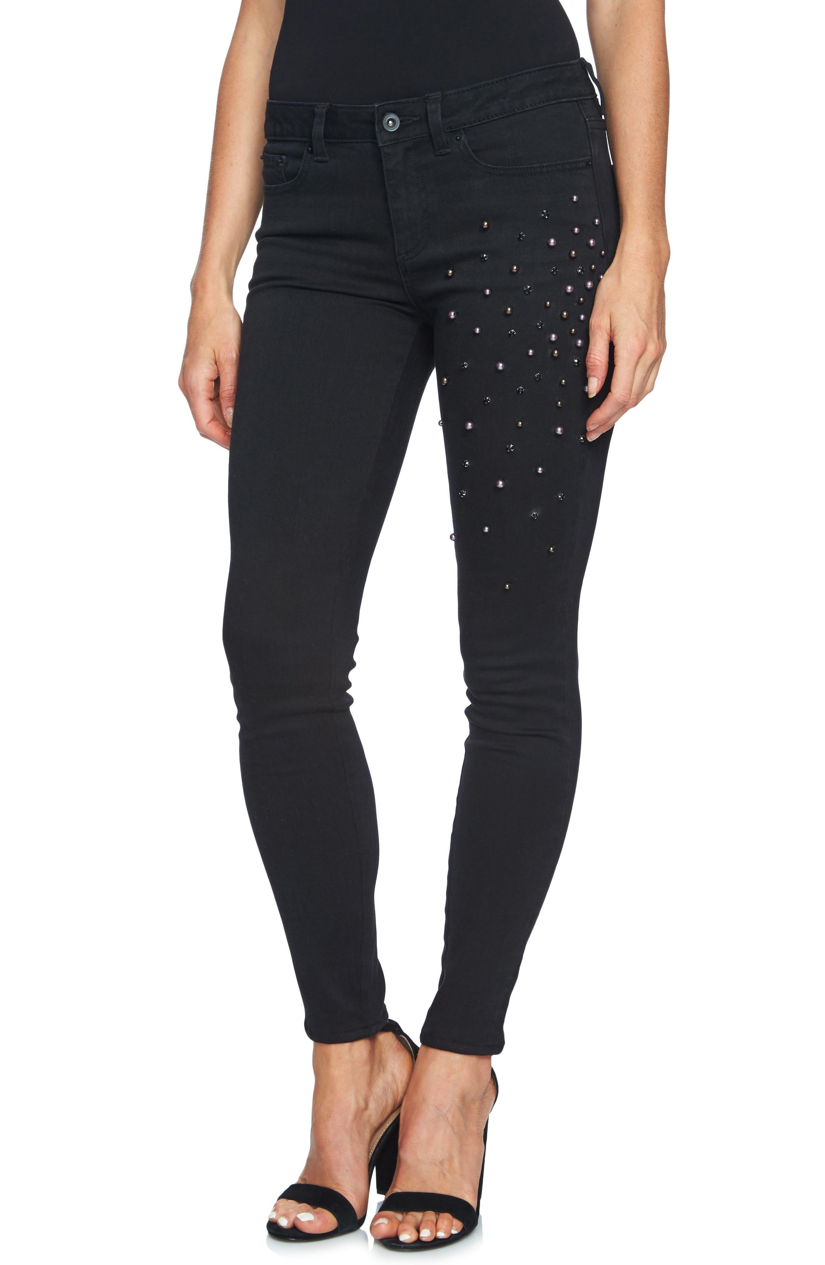 Alternate Image 4  - CeCe Embellished Skinny Jeans (Mod Black)