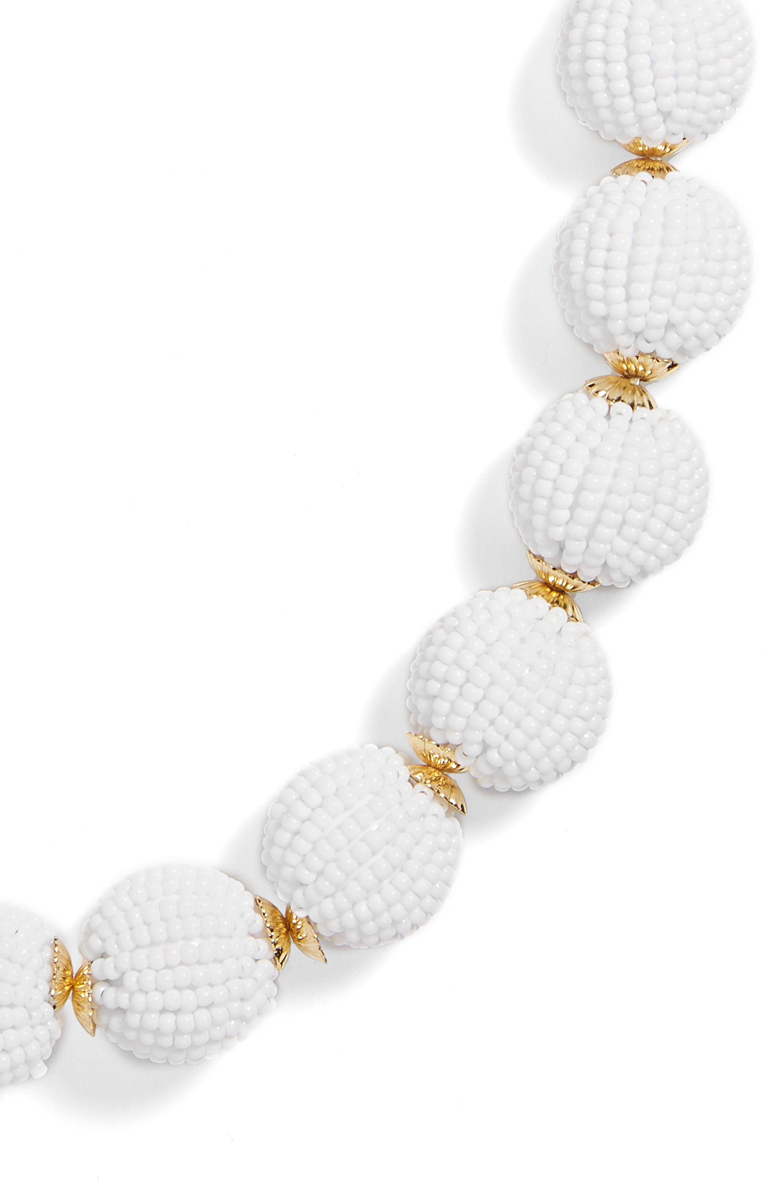 Beaded Ball Statement Necklace,                             Alternate thumbnail 2, color,                             White
