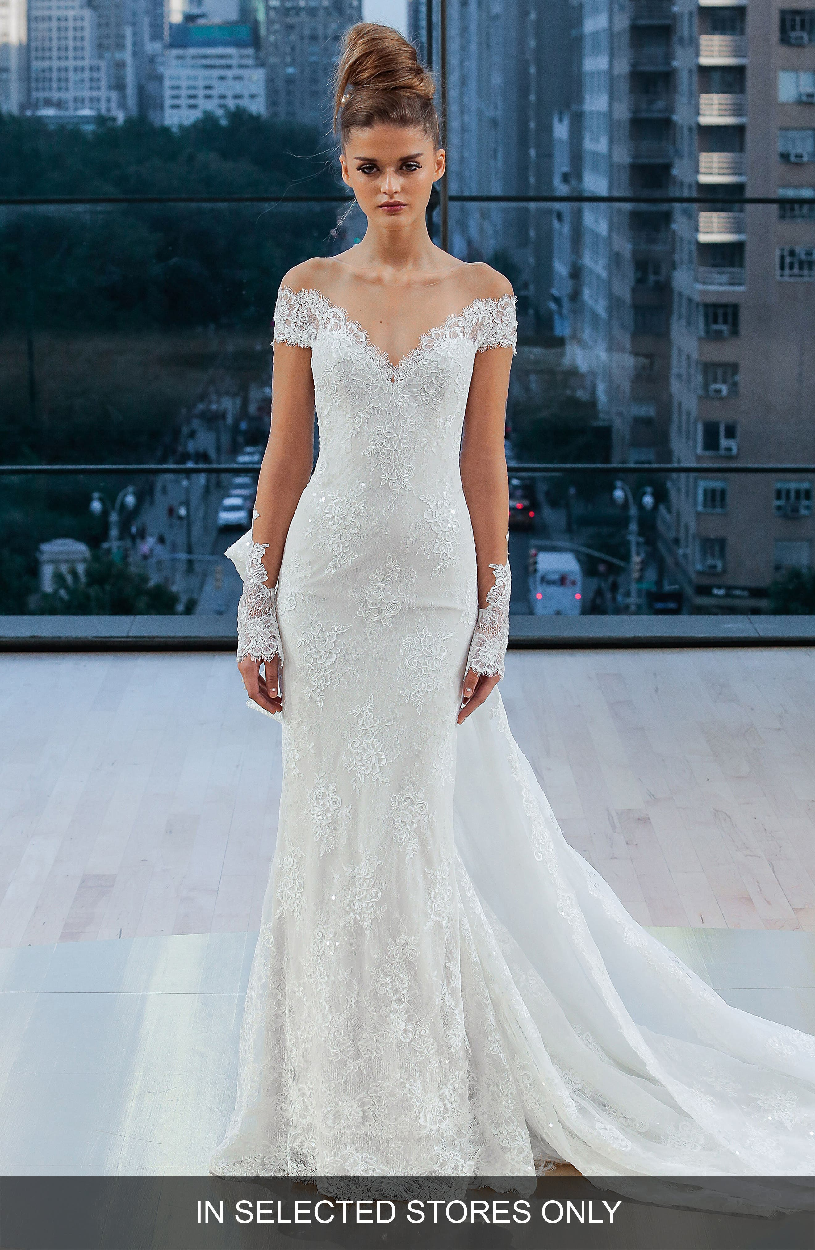 Ines di Santo Gramercy Off the Shoulder Silk Lace Sheath Gown