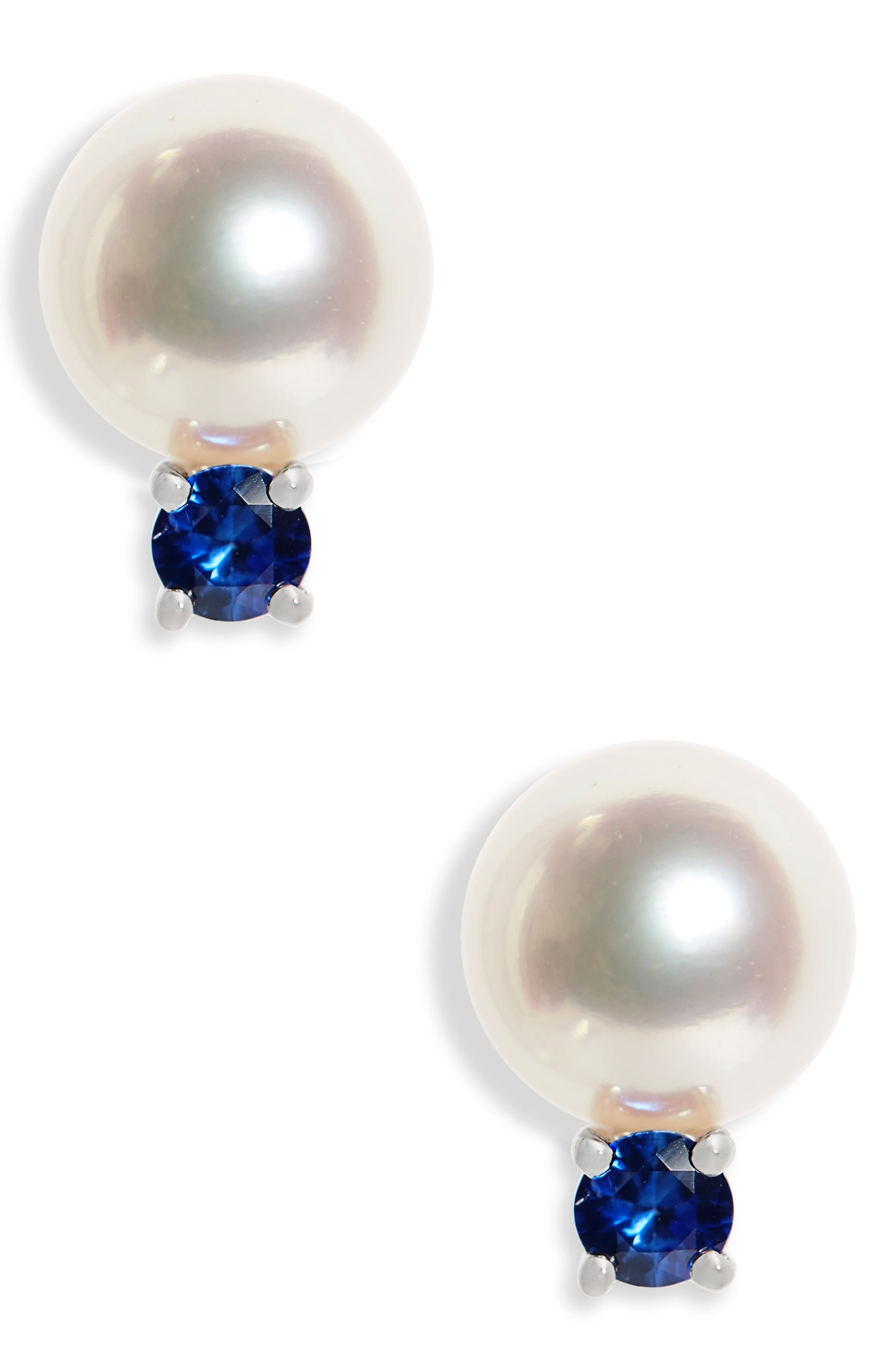 Akoya Pearl & Sapphire Stud Earrings,                         Main,                         color, White Gold