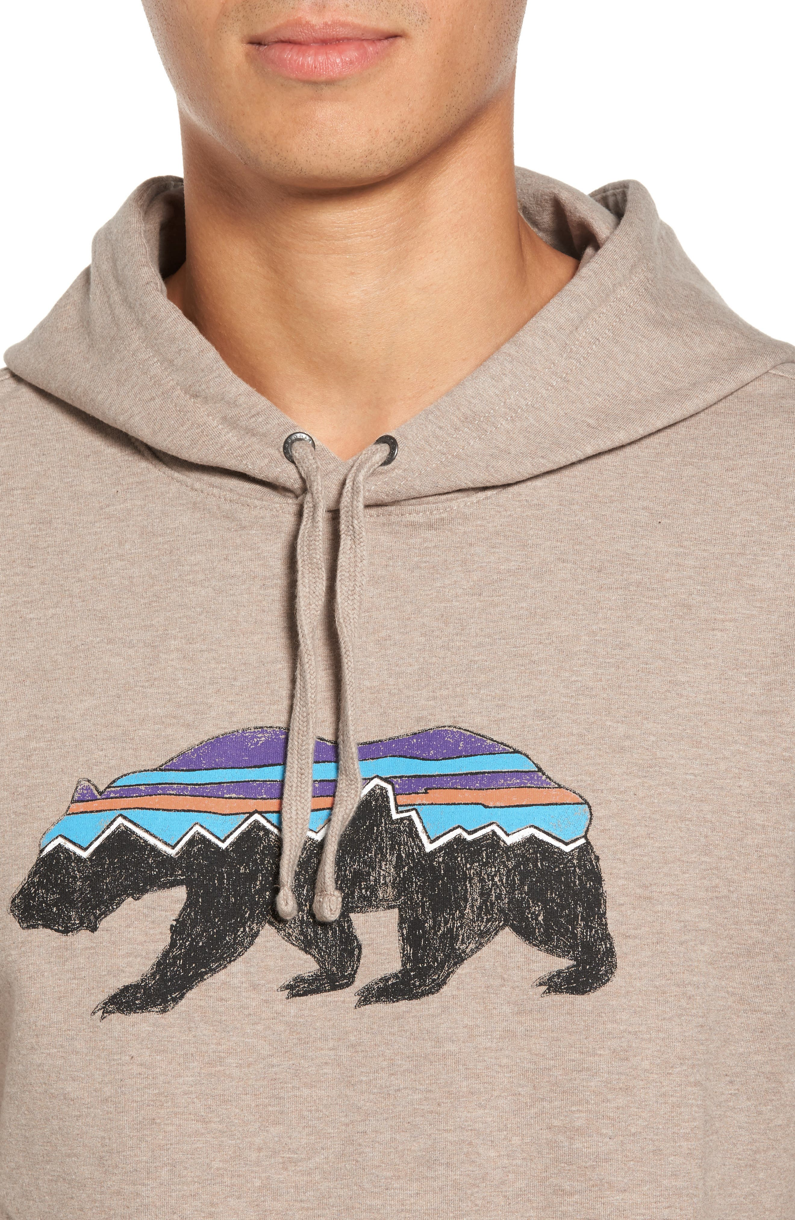 Fitz Roy Bear Graphic Hoodie,                             Alternate thumbnail 4, color,                             El Cap Khaki