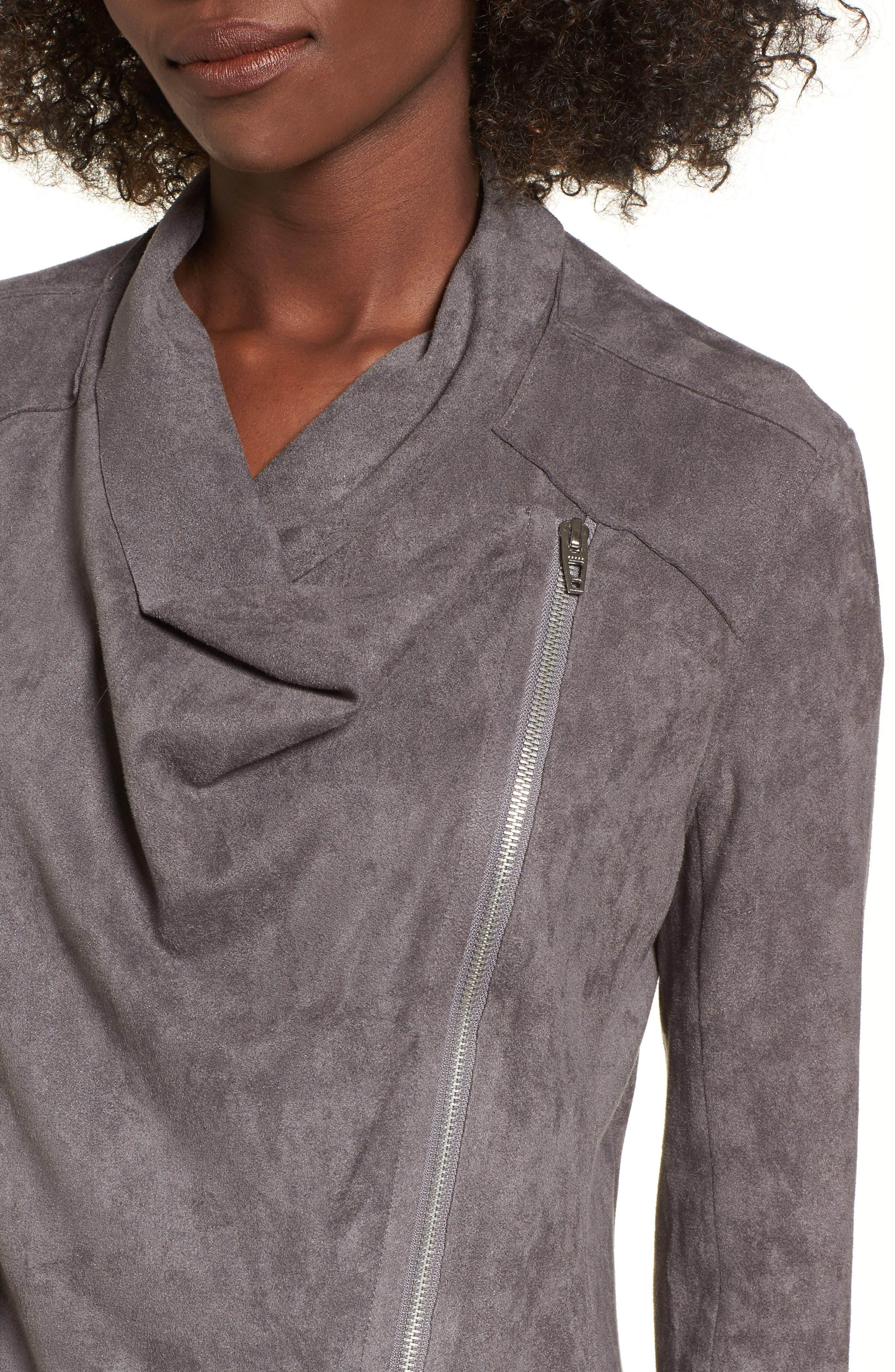 Alternate Image 4  - BLANKNYC Drape Front Faux Suede Jacket