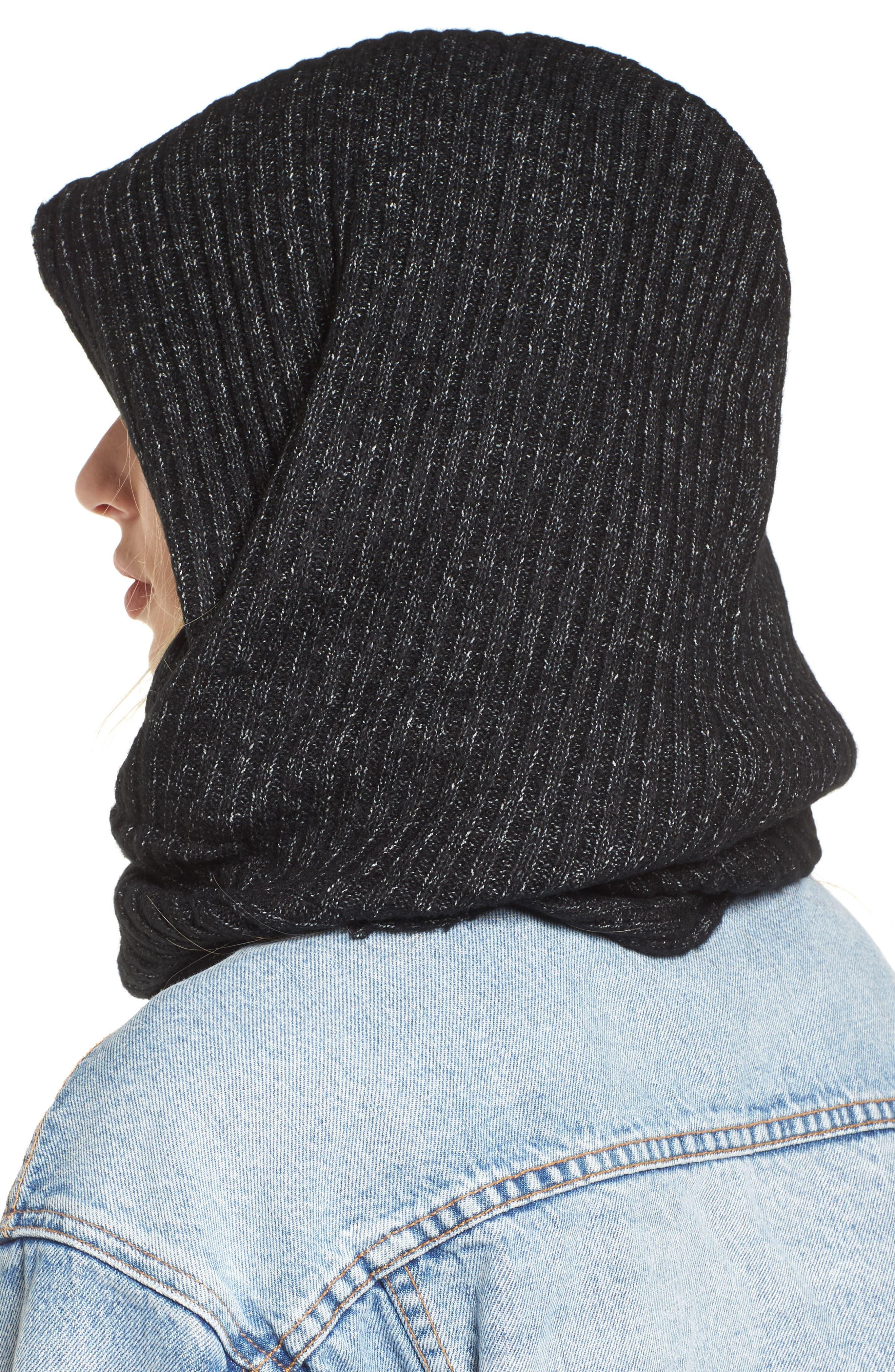 Bottom Line Hooded Rib Knit Wrap,                             Alternate thumbnail 2, color,                             Black