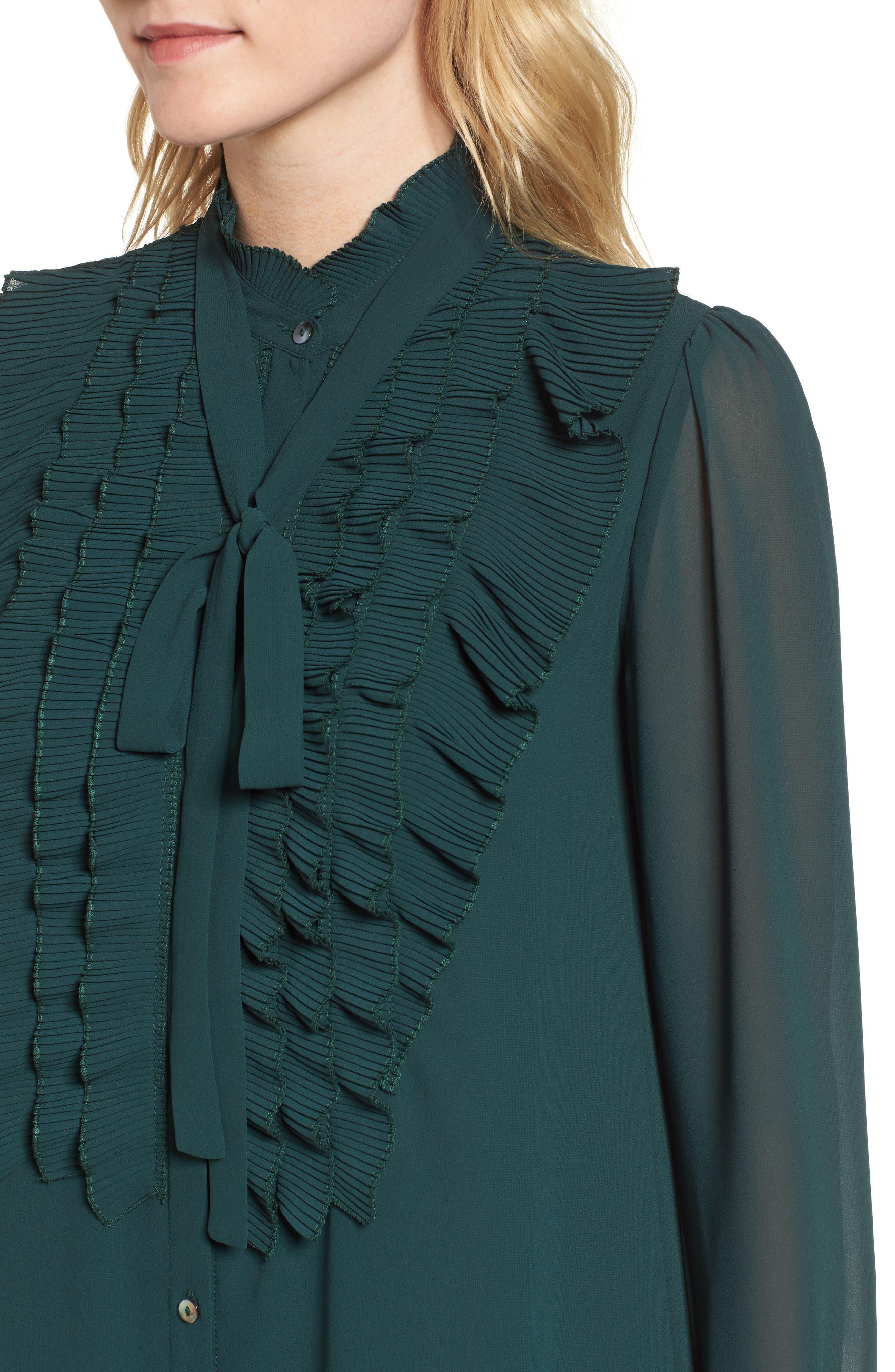Near Death Ruffle Shirtdress,                             Alternate thumbnail 4, color,                             Pine