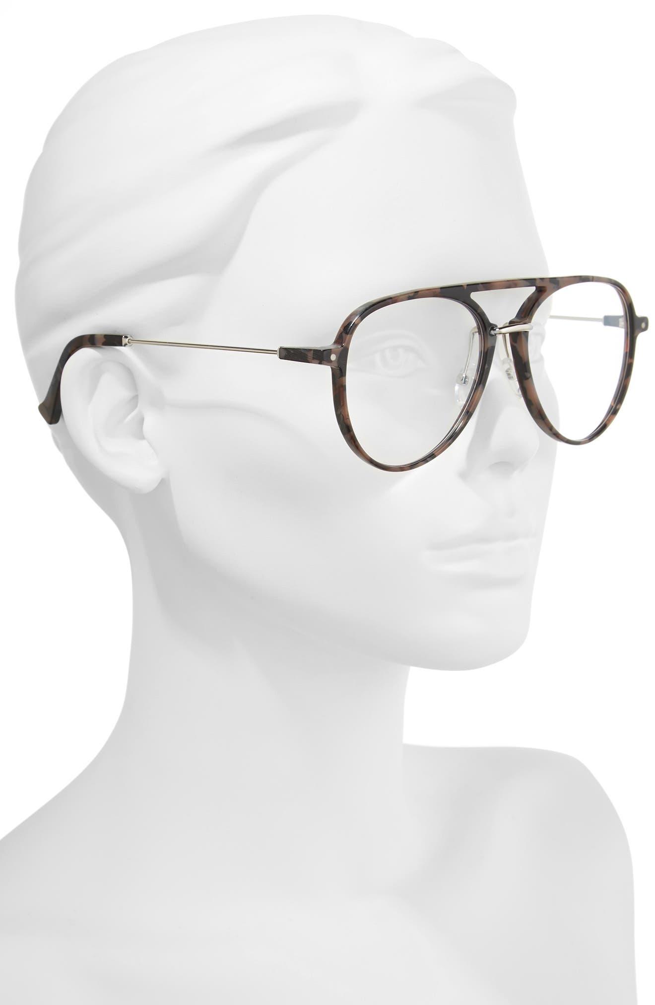 Praph 57mm Optical Glasses,                             Alternate thumbnail 2, color,                             Rose Tortoise/ Optical