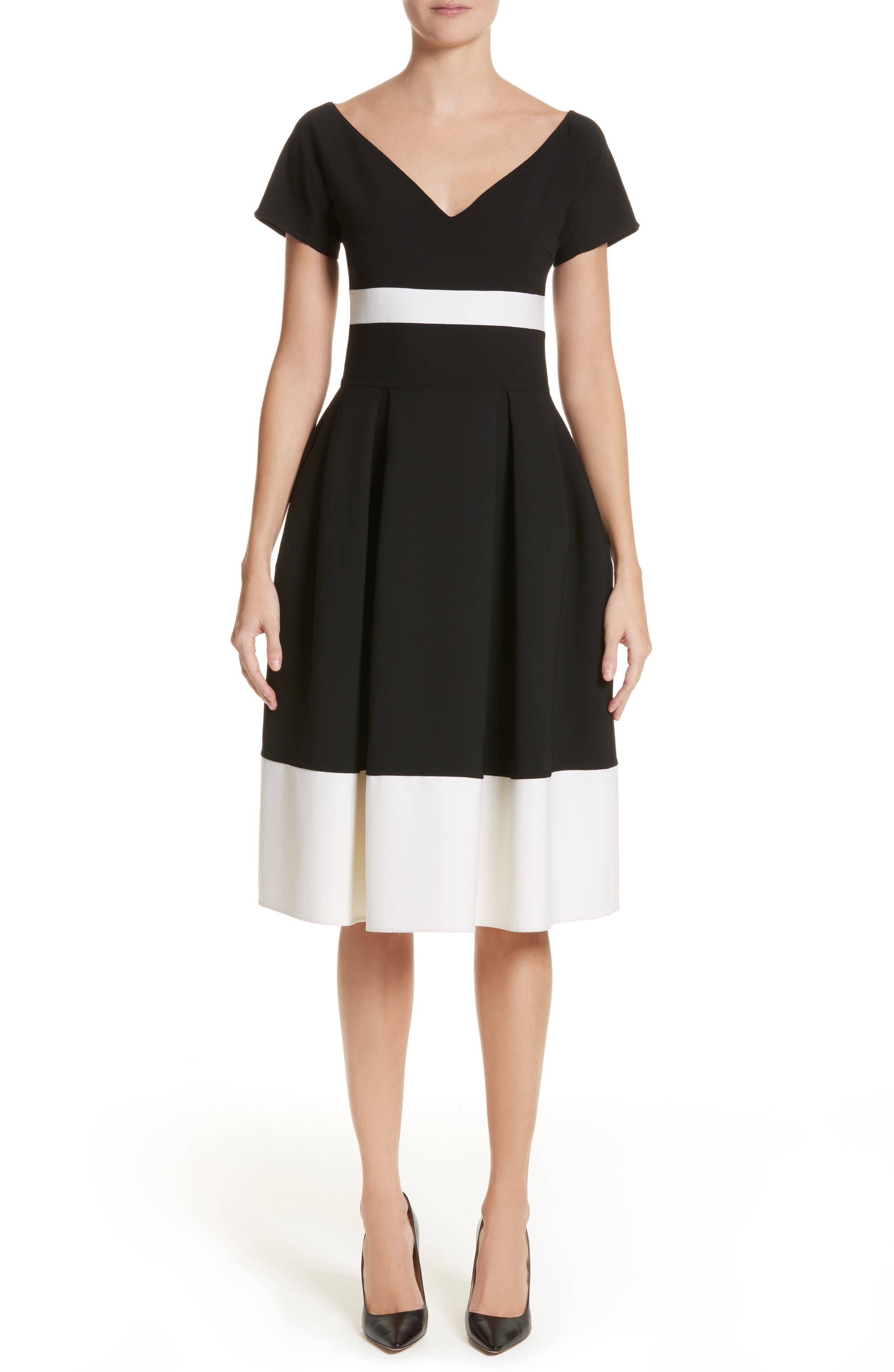 Colorblock Cap Sleeve Dress,                         Main,                         color, Black/ White