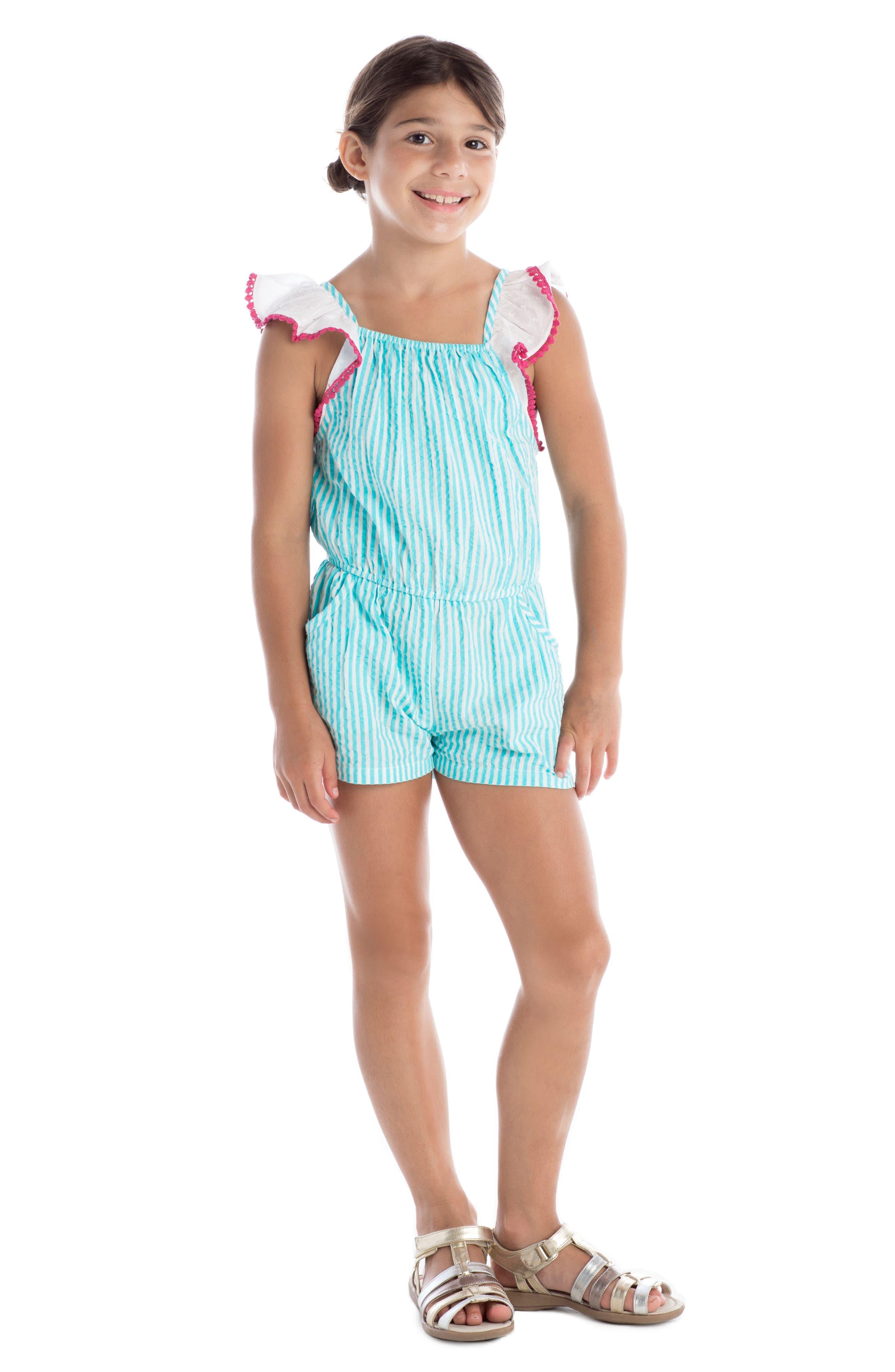 Alternate Image 2  - Masala Baby Zuri Stripe Romper (Toddler Girls, Little Girls & Big Girls)