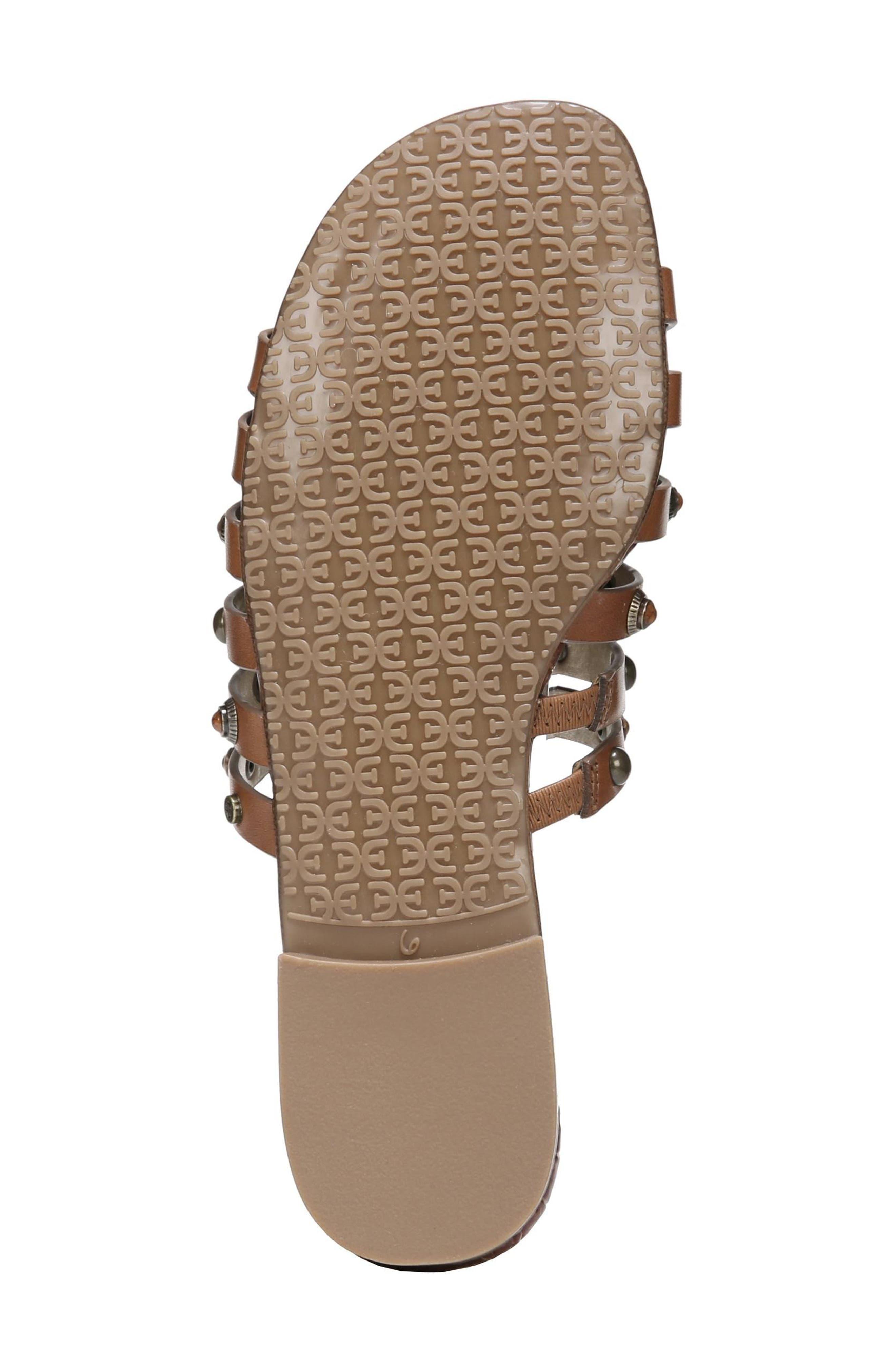 Brea Studded Slide Sandal,                             Alternate thumbnail 6, color,                             Luggage Leather