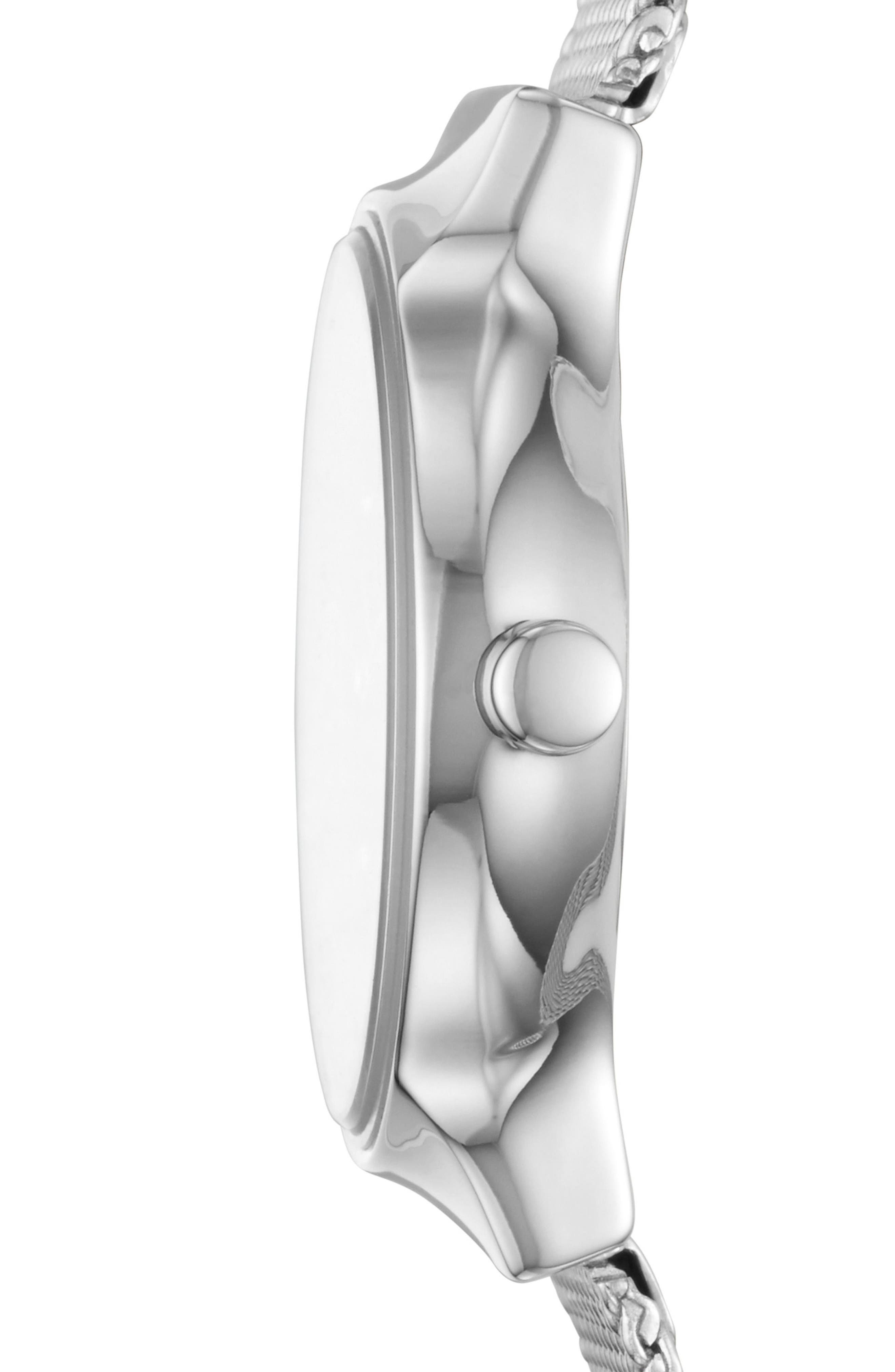 Freja Crystal Accent Mesh Strap Watch, 26mm,                             Alternate thumbnail 2, color,                             Silver/ Grey/ Silver