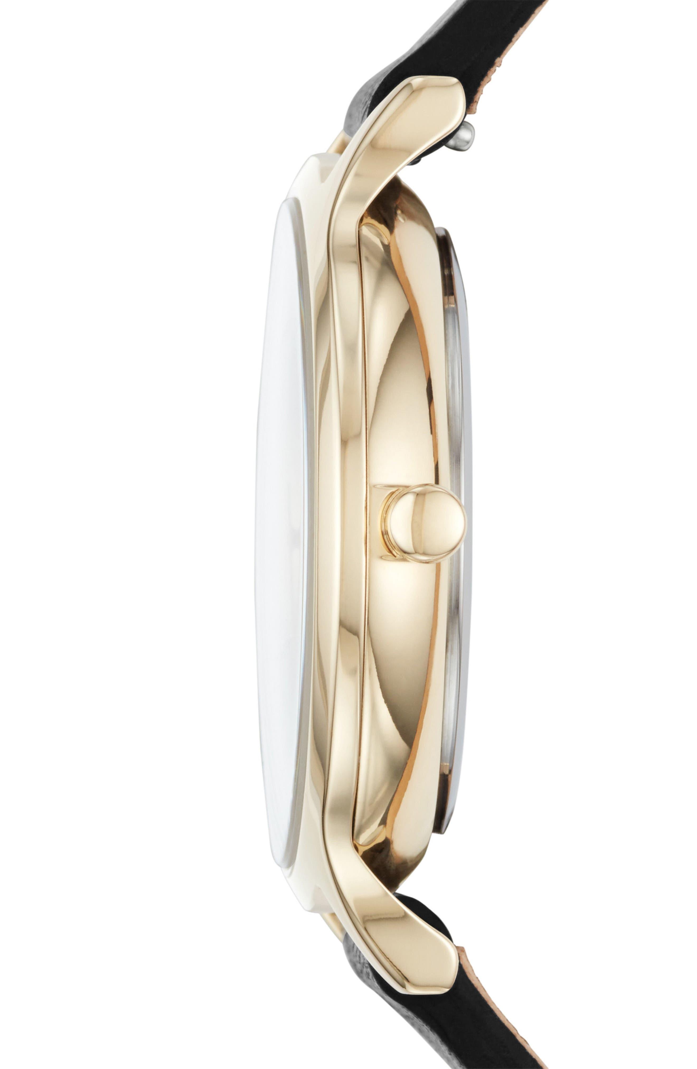 Anita Stone Dial Leather Strap Watch, 34mm,                             Alternate thumbnail 2, color,                             Black/ White/ Gold