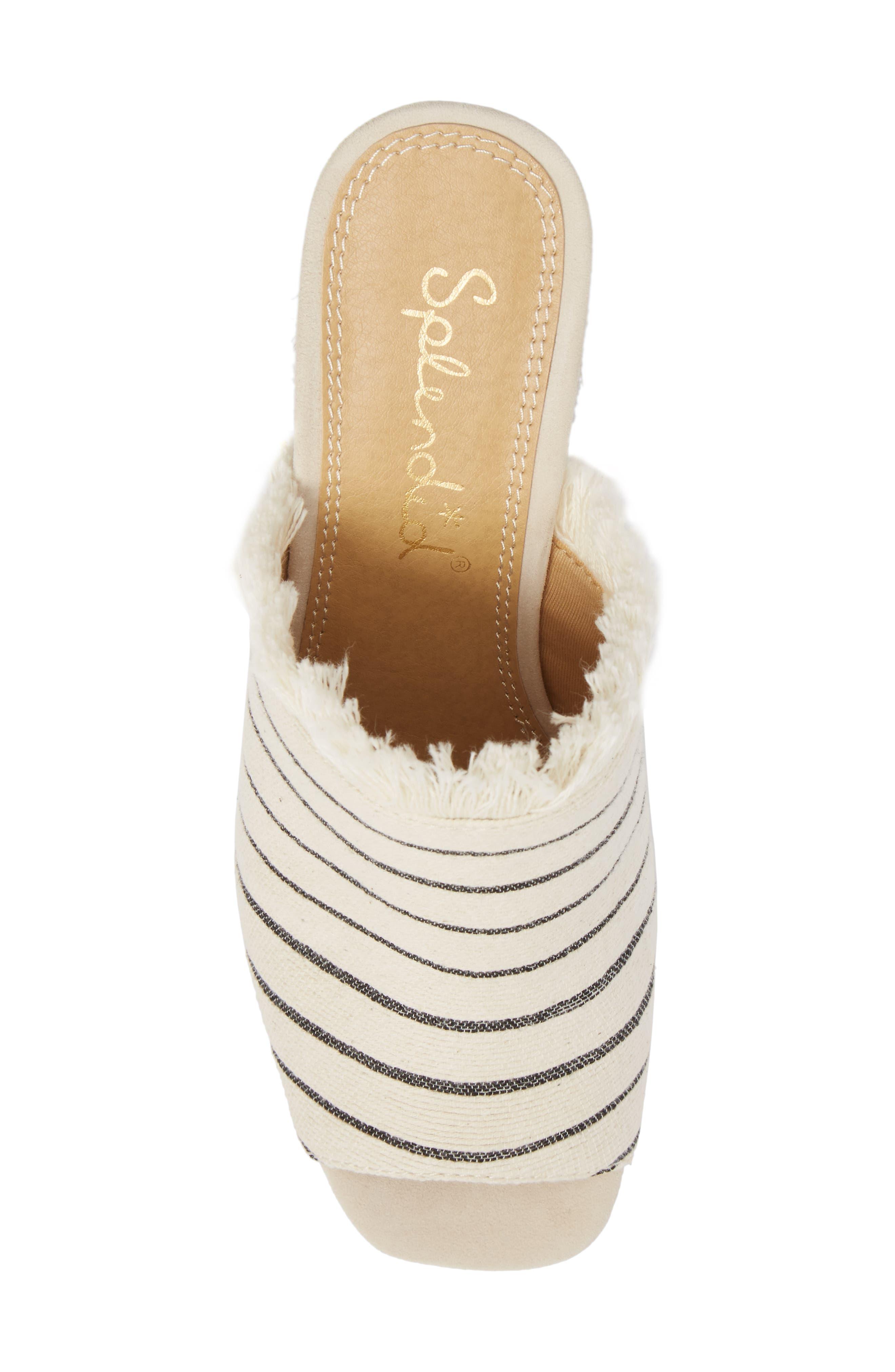 Baron Fringed Block Heel Slide,                             Alternate thumbnail 5, color,                             Cream Leather
