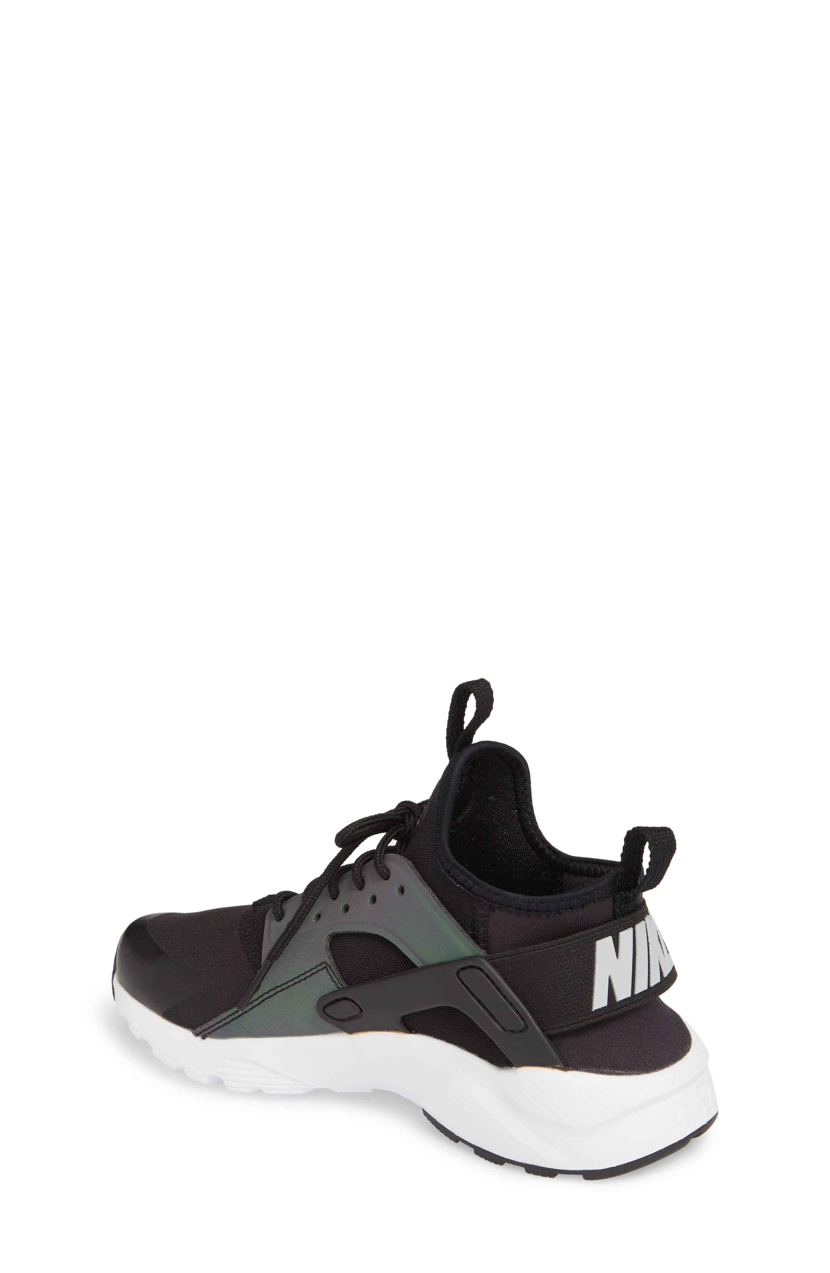 Air Huarache Run SE Sneaker,                             Alternate thumbnail 2, color,                             Black/ Wolf Grey-White