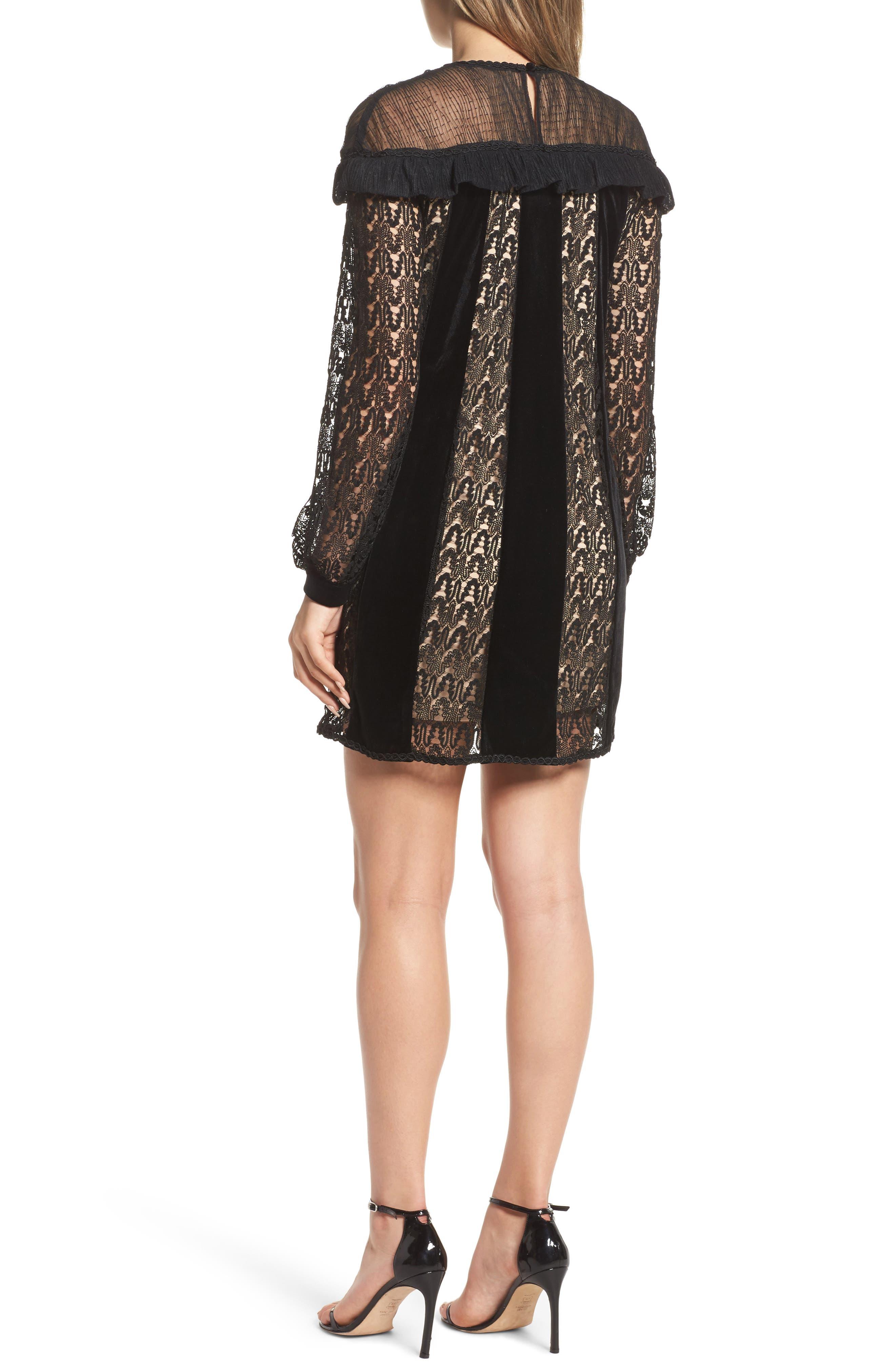 Charli Lace & Velvet Shift Dress,                             Alternate thumbnail 2, color,                             Black