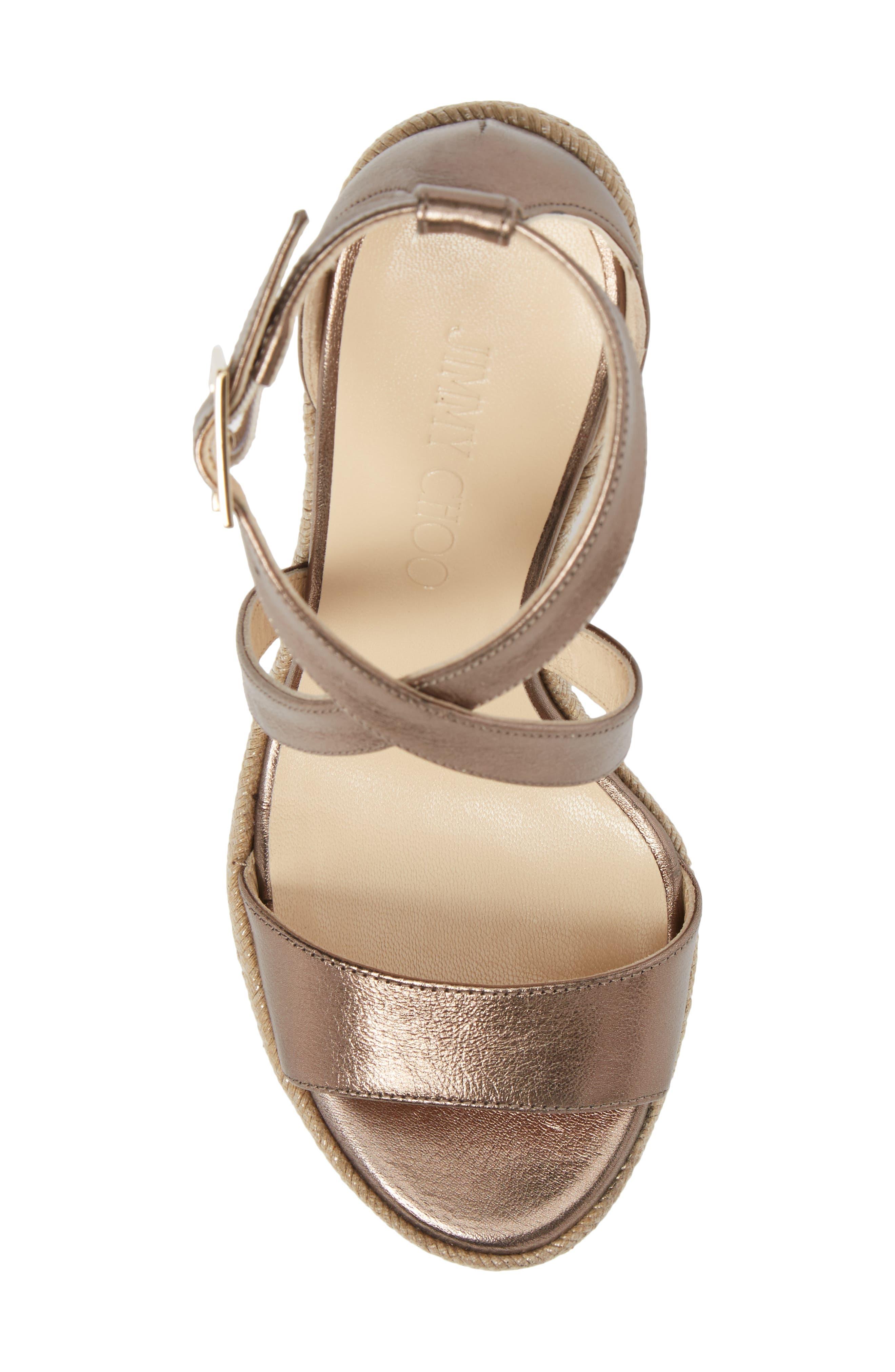 Portia Wedge Platform Sandal,                             Alternate thumbnail 5, color,                             Antique Gold