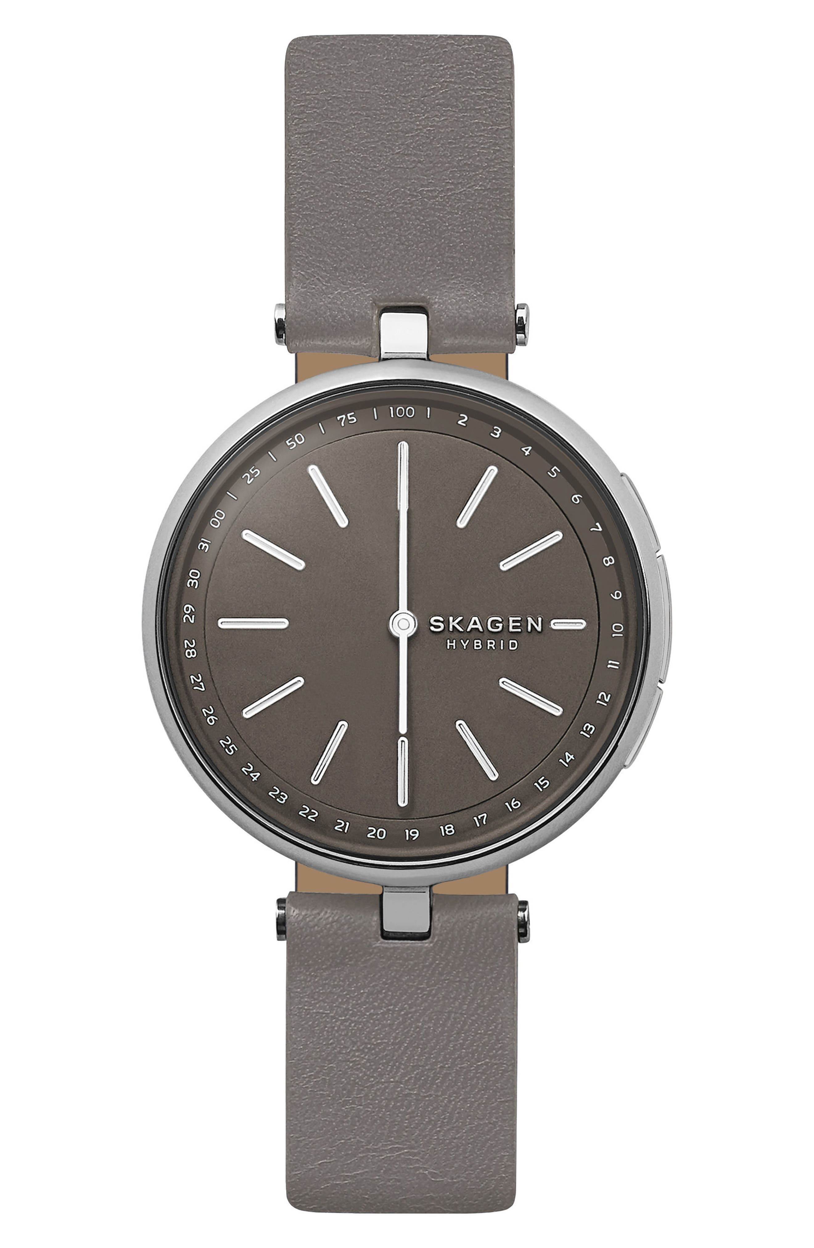 Signatur Connected T-Bar Leather Strap Hybrid Smart Watch, 36mm,                             Main thumbnail 1, color,                             Grey/ Silver