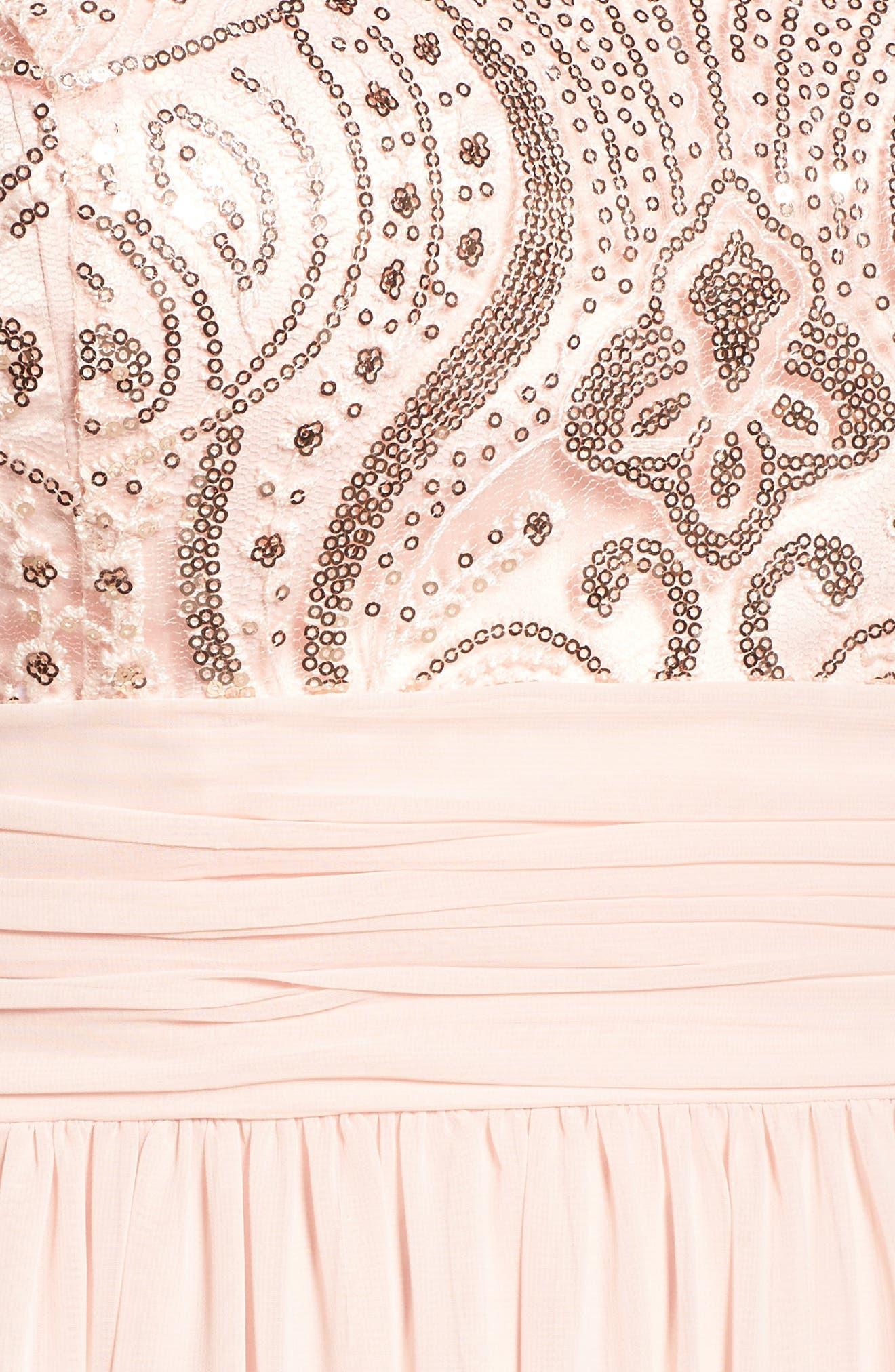 Sequin & Lace Bodice Chiffon Gown,                             Alternate thumbnail 5, color,                             Blush