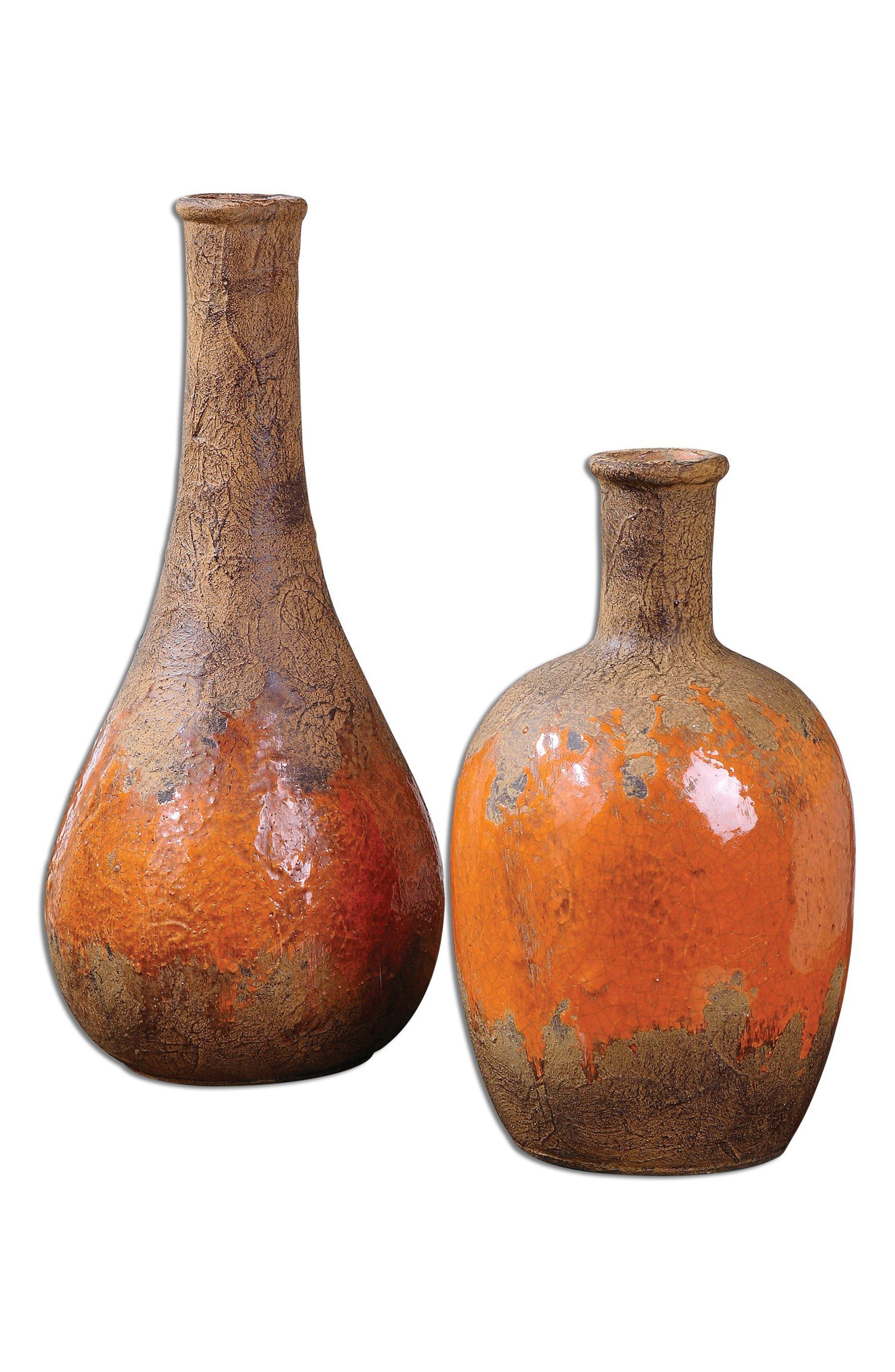 Kadam Set of 2 Vases,                             Main thumbnail 1, color,                             Orange