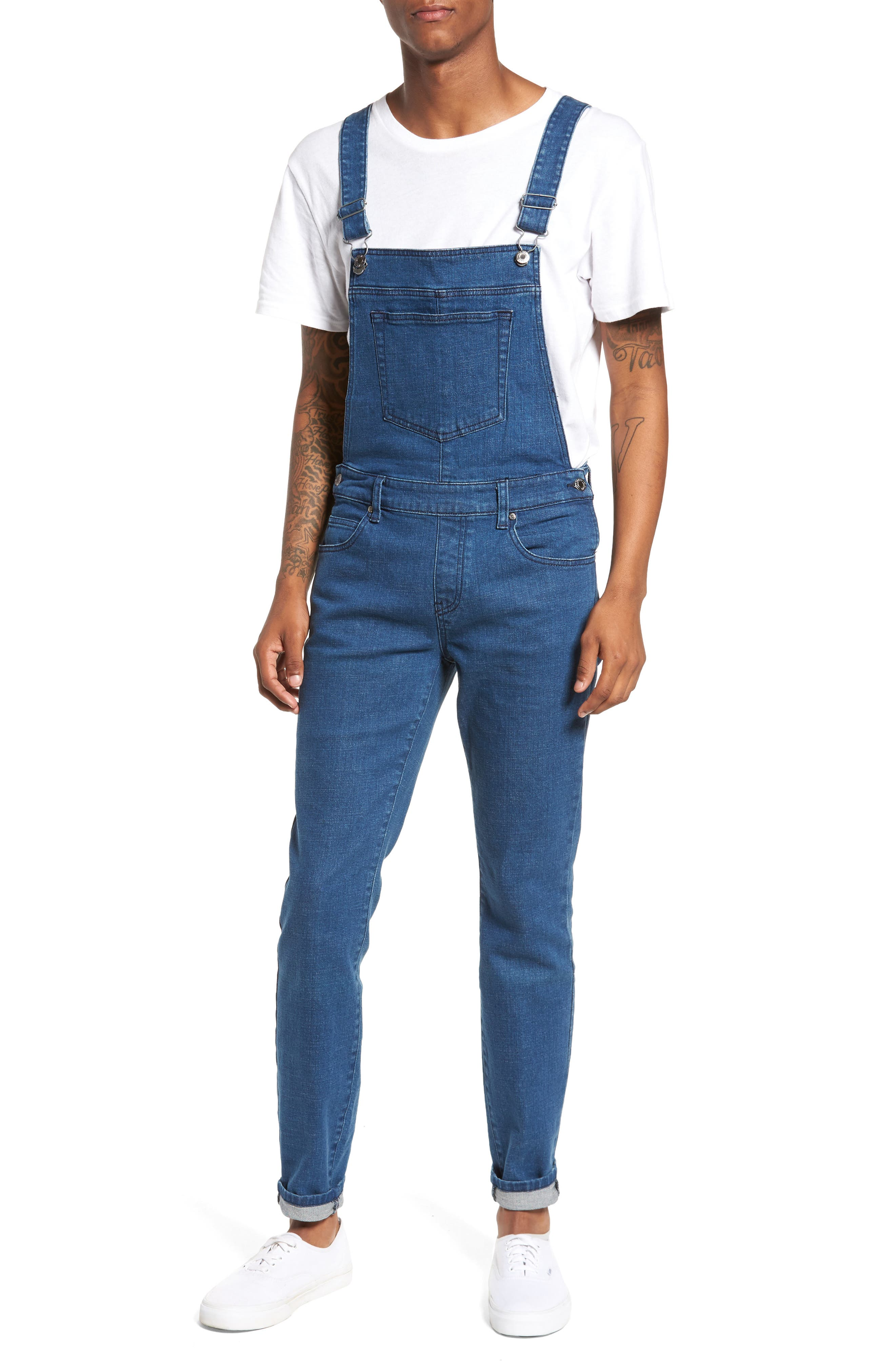 Main Image - Dr. Denim Supply Co. Ira Skinny Fit Overalls (90s Mid Stone)