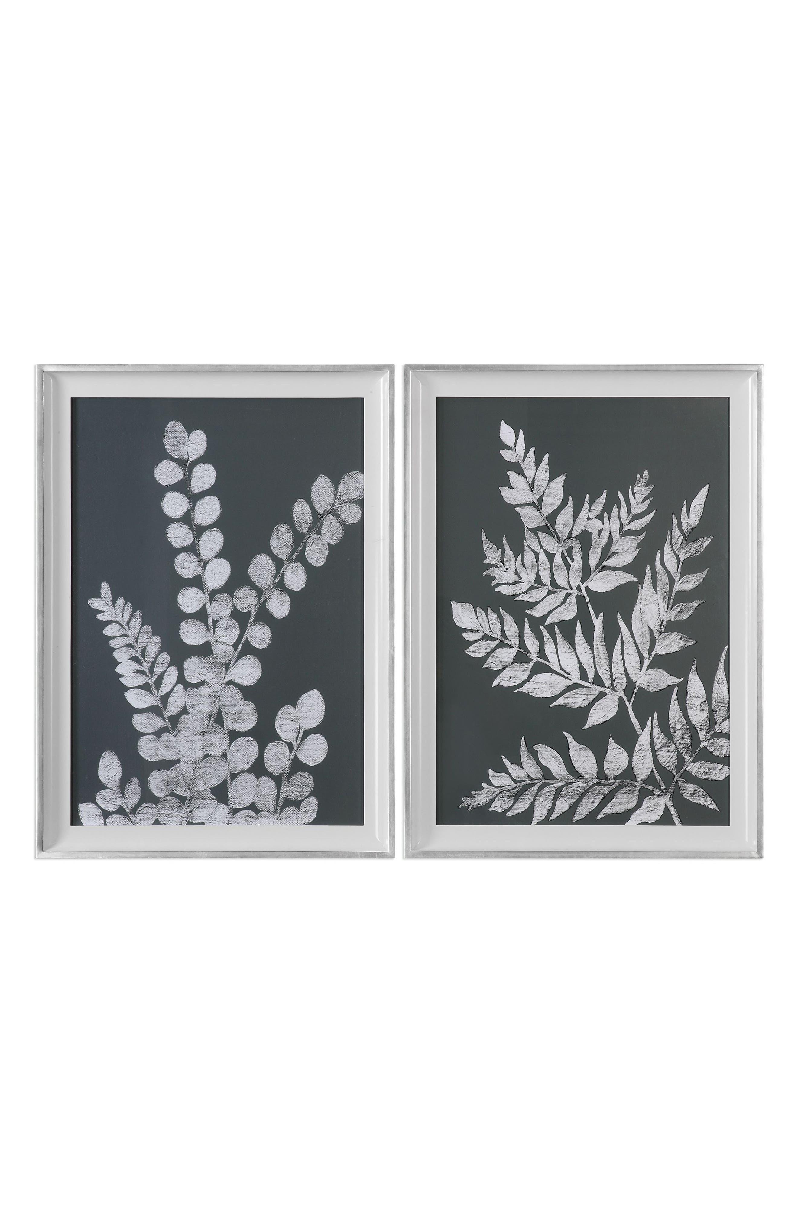 White Ferns 2-Piece Wall Art Set,                         Main,                         color, Black