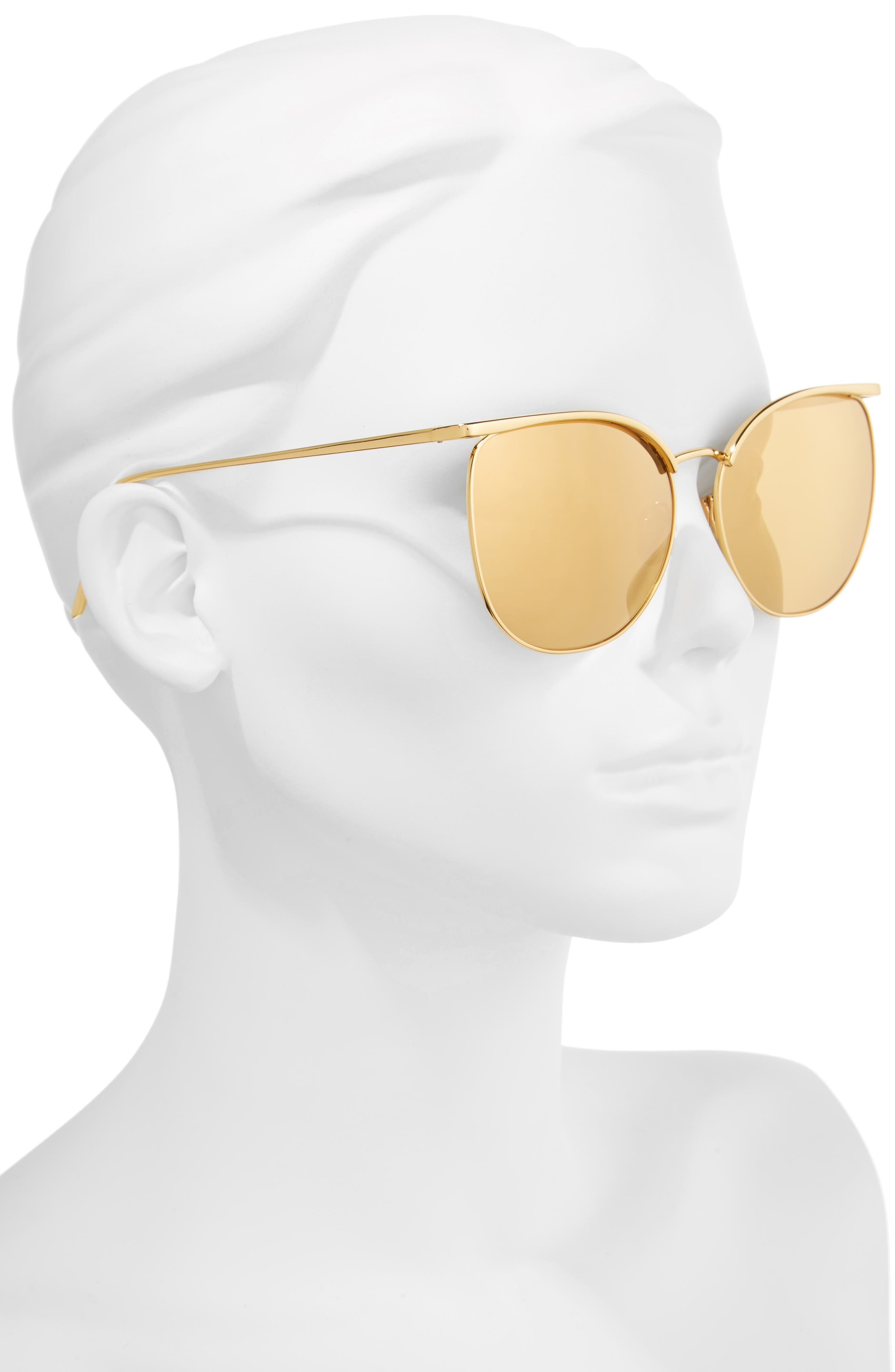 59mm Mirrored 22 Karat Gold Trim Sunglasses,                             Alternate thumbnail 2, color,                             Yellow Gold/ Gold