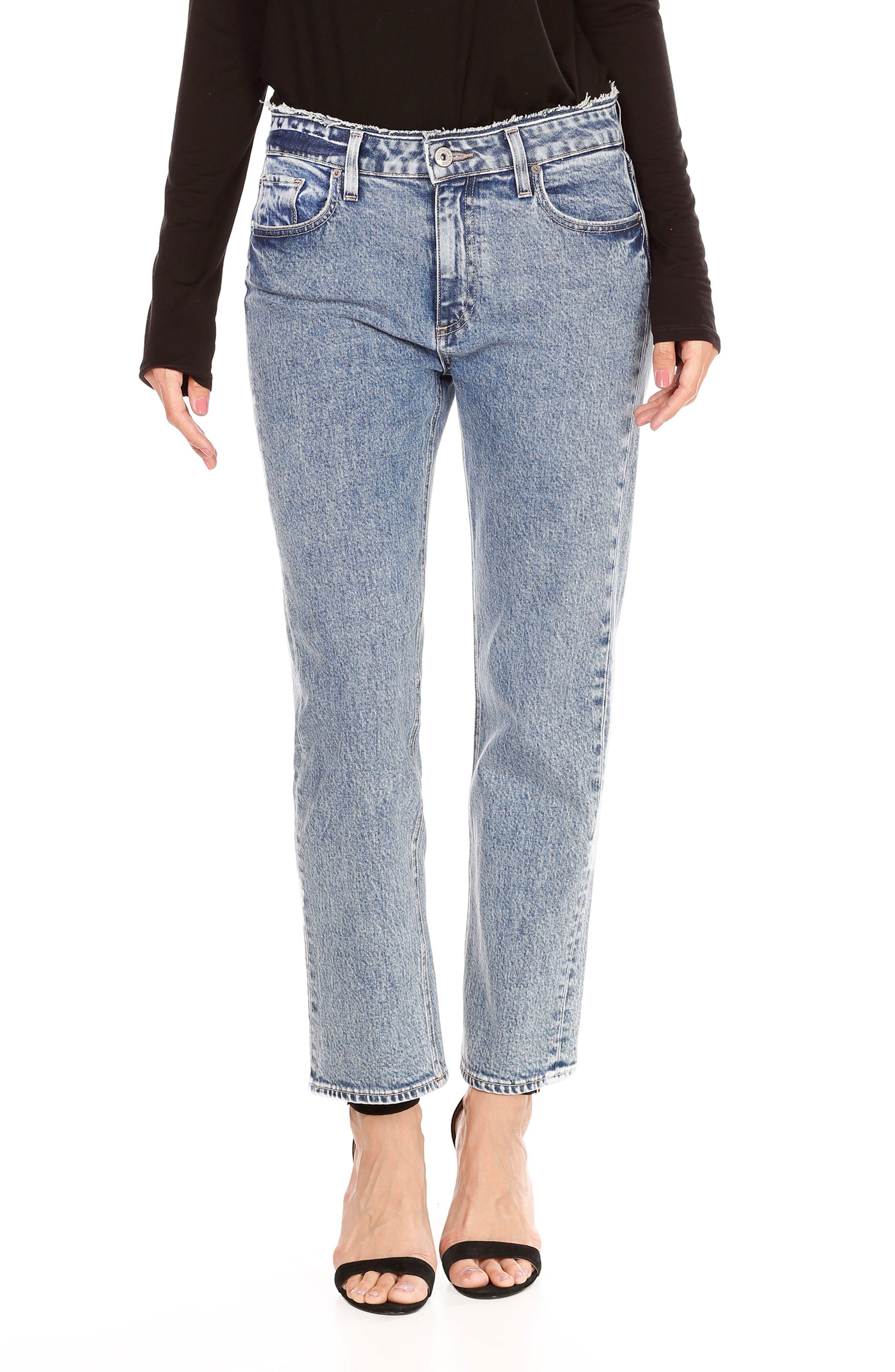 Transcend Vintage - Noella Crop Straight Leg Jeans,                         Main,                         color, Blue