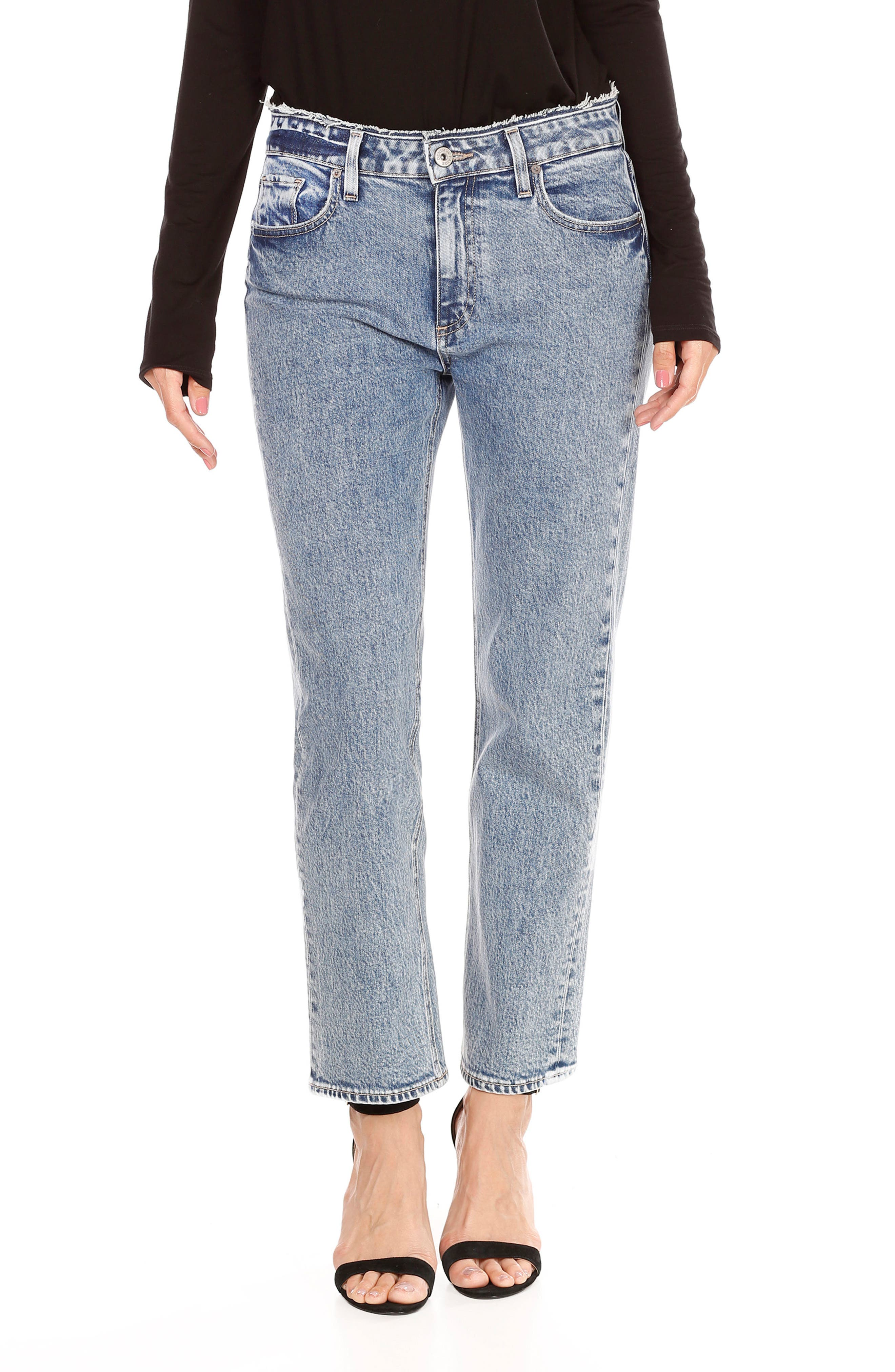 Transcend Vintage - Noella Crop Straight Leg Jeans,                         Main,                         color, Blue