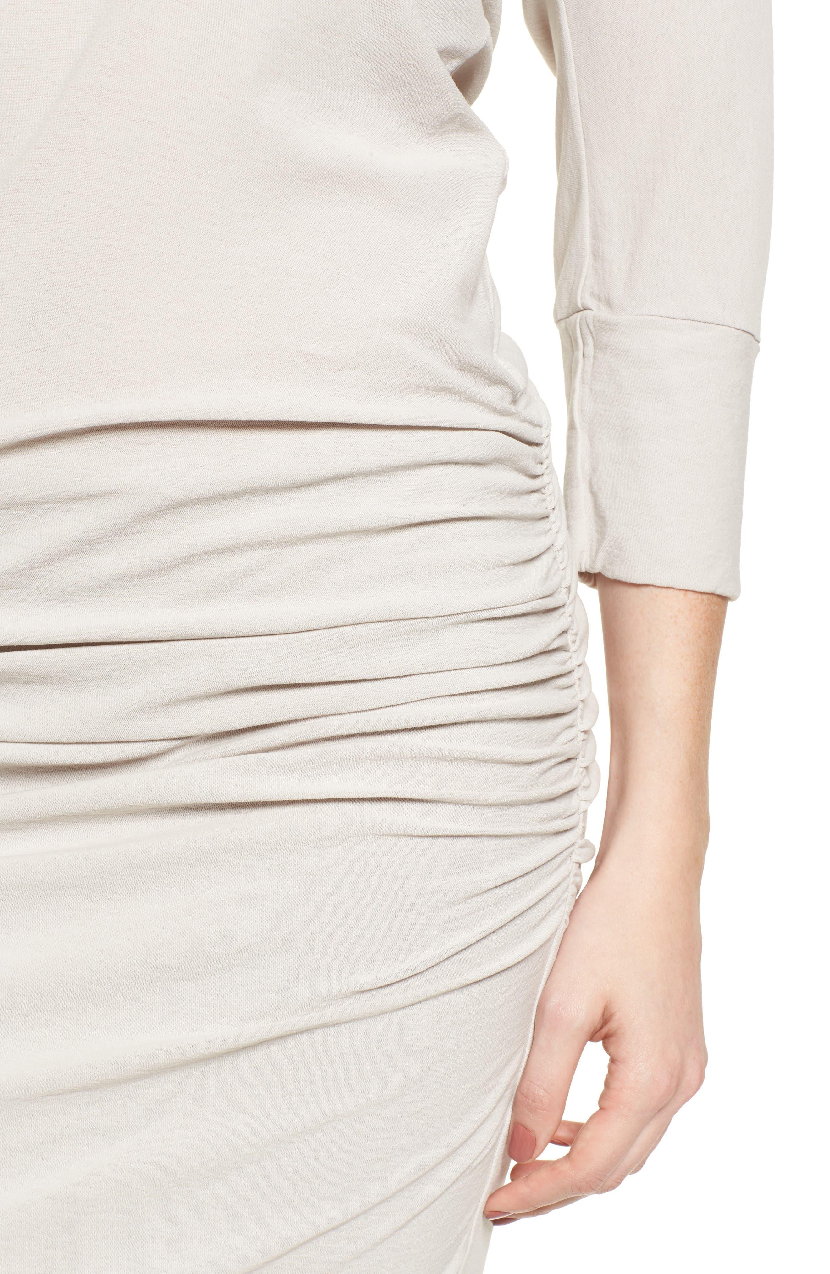 Shirred Cotton Dress,                             Alternate thumbnail 4, color,                             Dapple