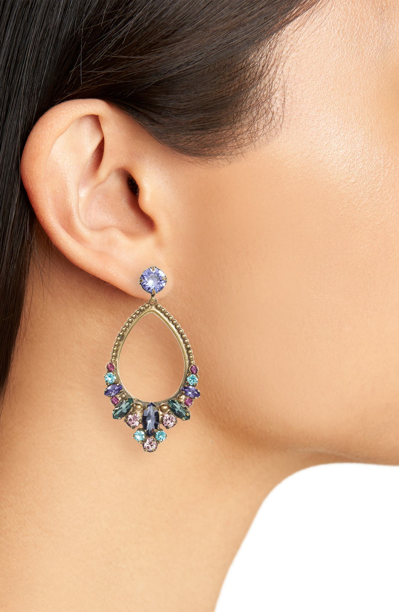 Noveau Navette Crystal Drop Earrings,                             Alternate thumbnail 2, color,                             Multi