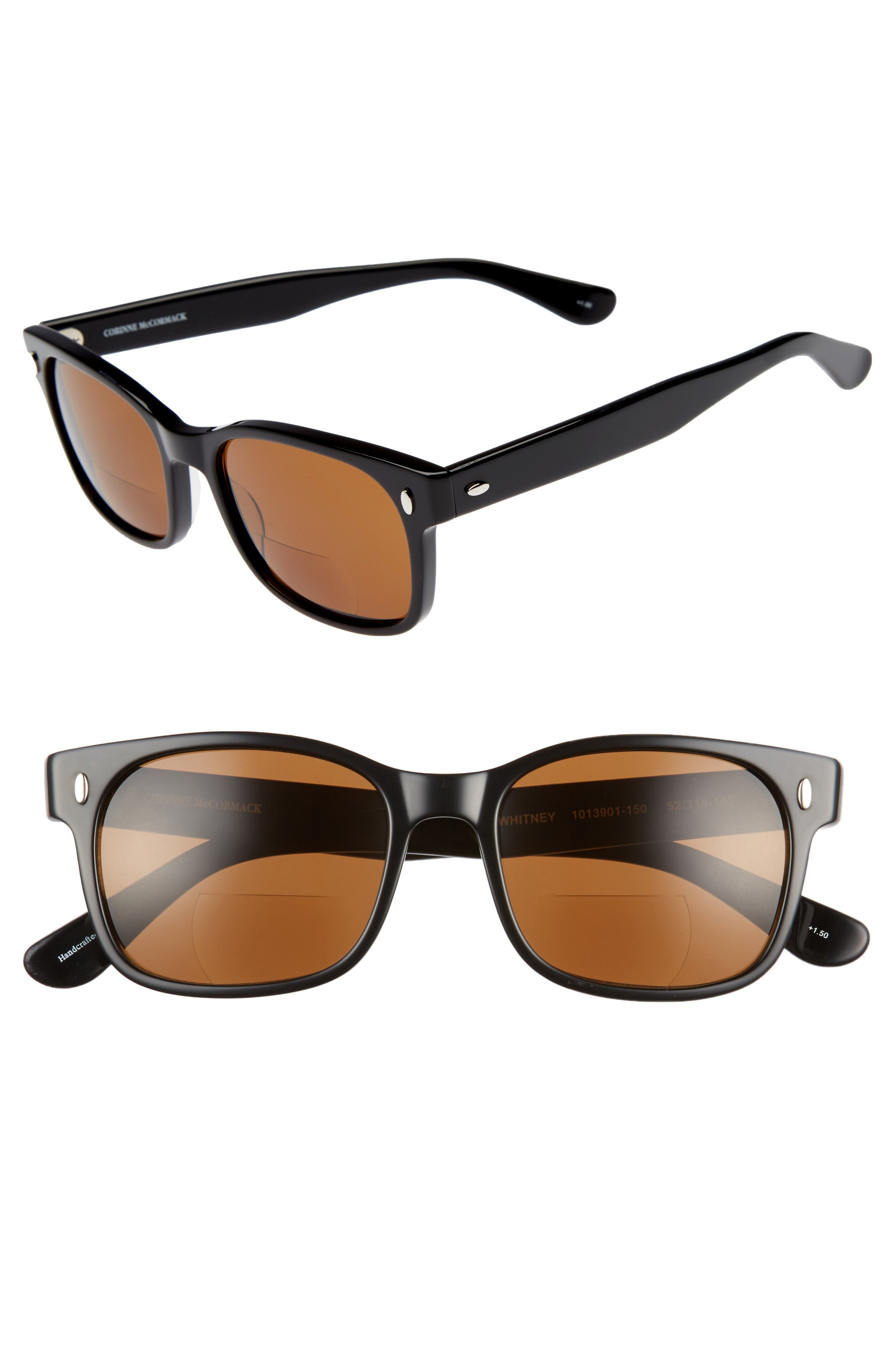 Whitney 52mm Reading Sunglasses,                         Main,                         color, Black