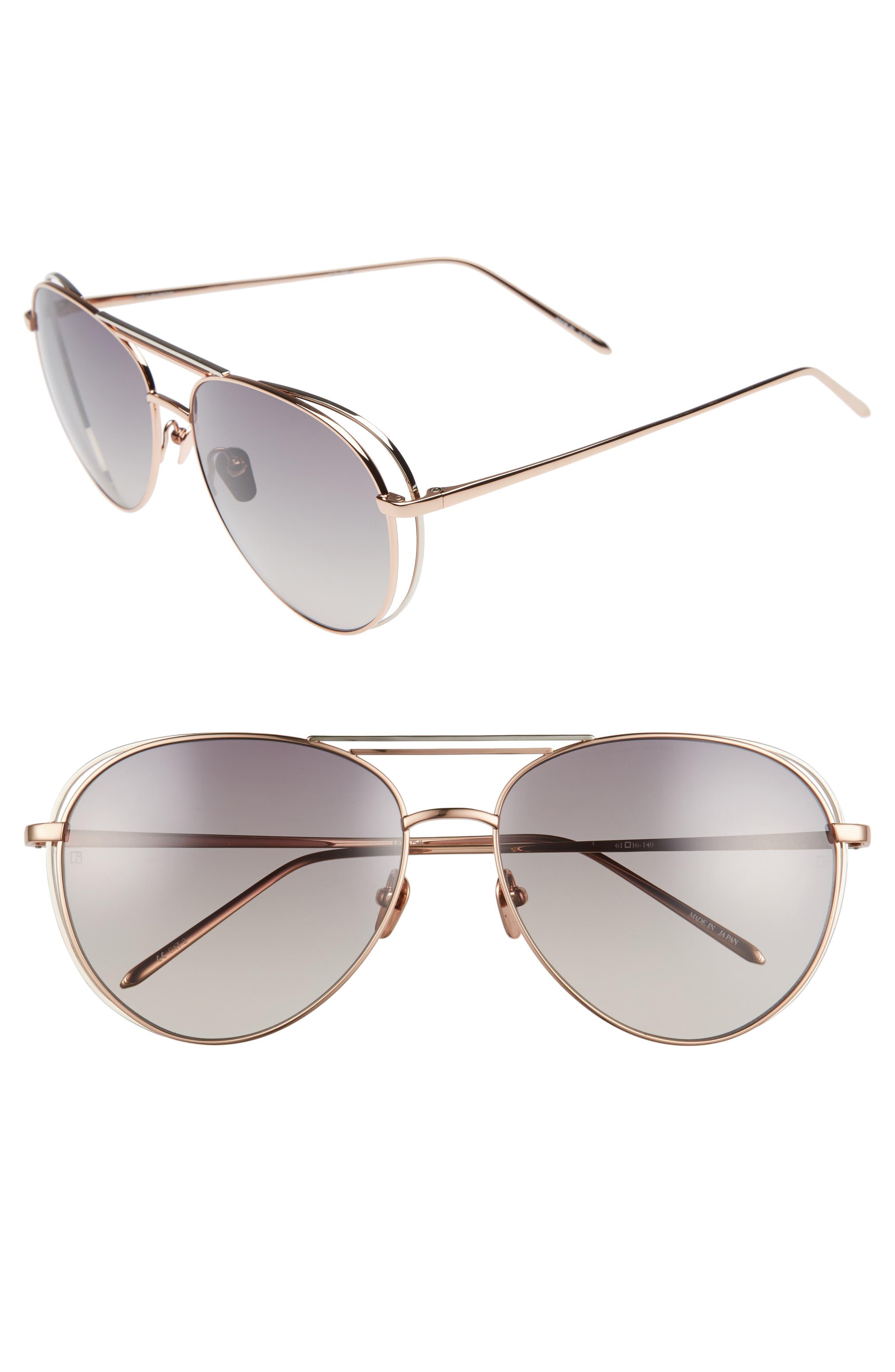 61mm 18 Karat Gold Aviator Sunglasses,                             Main thumbnail 1, color,                             Rose Gold White Gold/ Grey