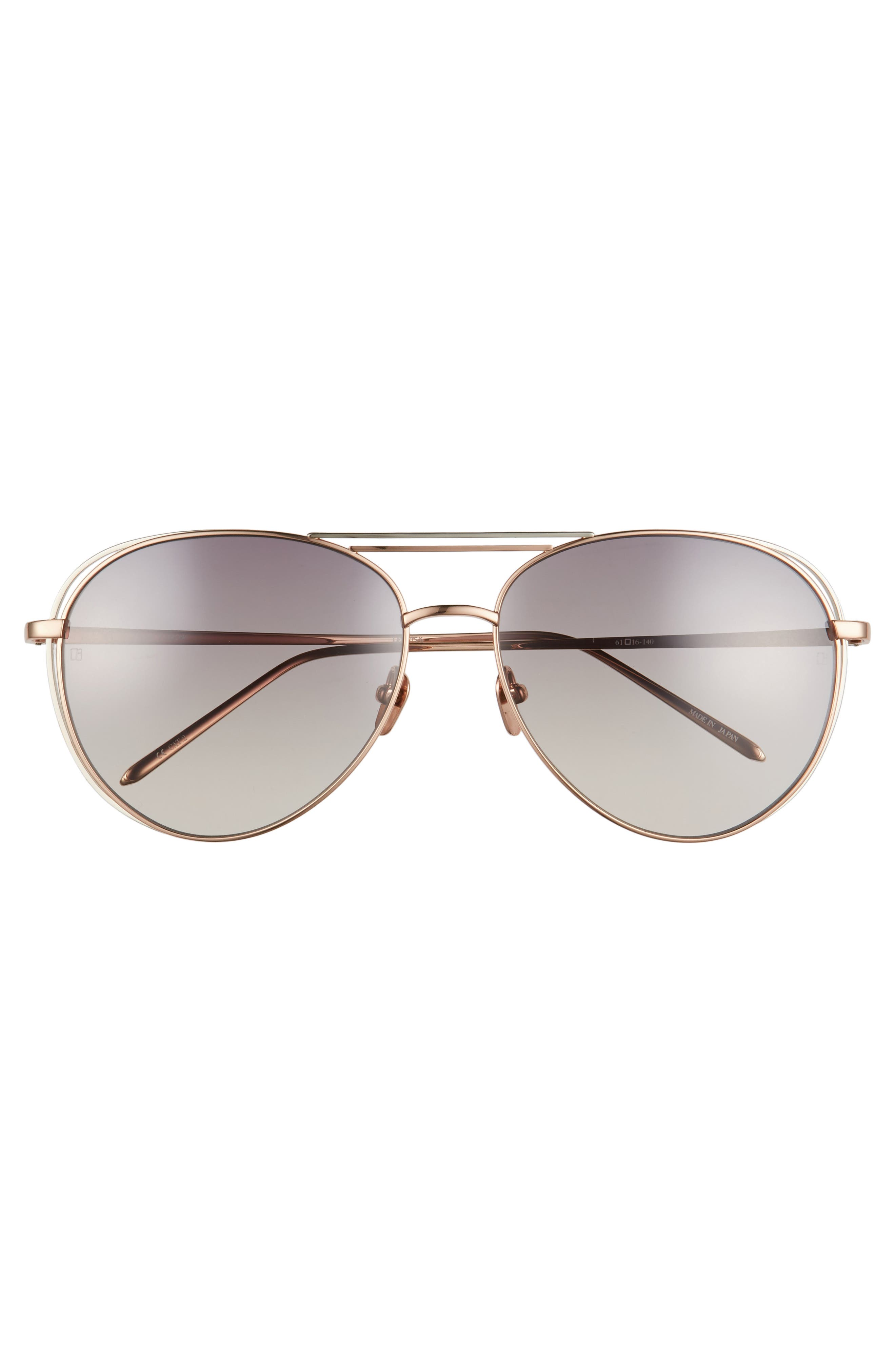 61mm 18 Karat Gold Aviator Sunglasses,                             Alternate thumbnail 3, color,                             Rose Gold White Gold/ Grey