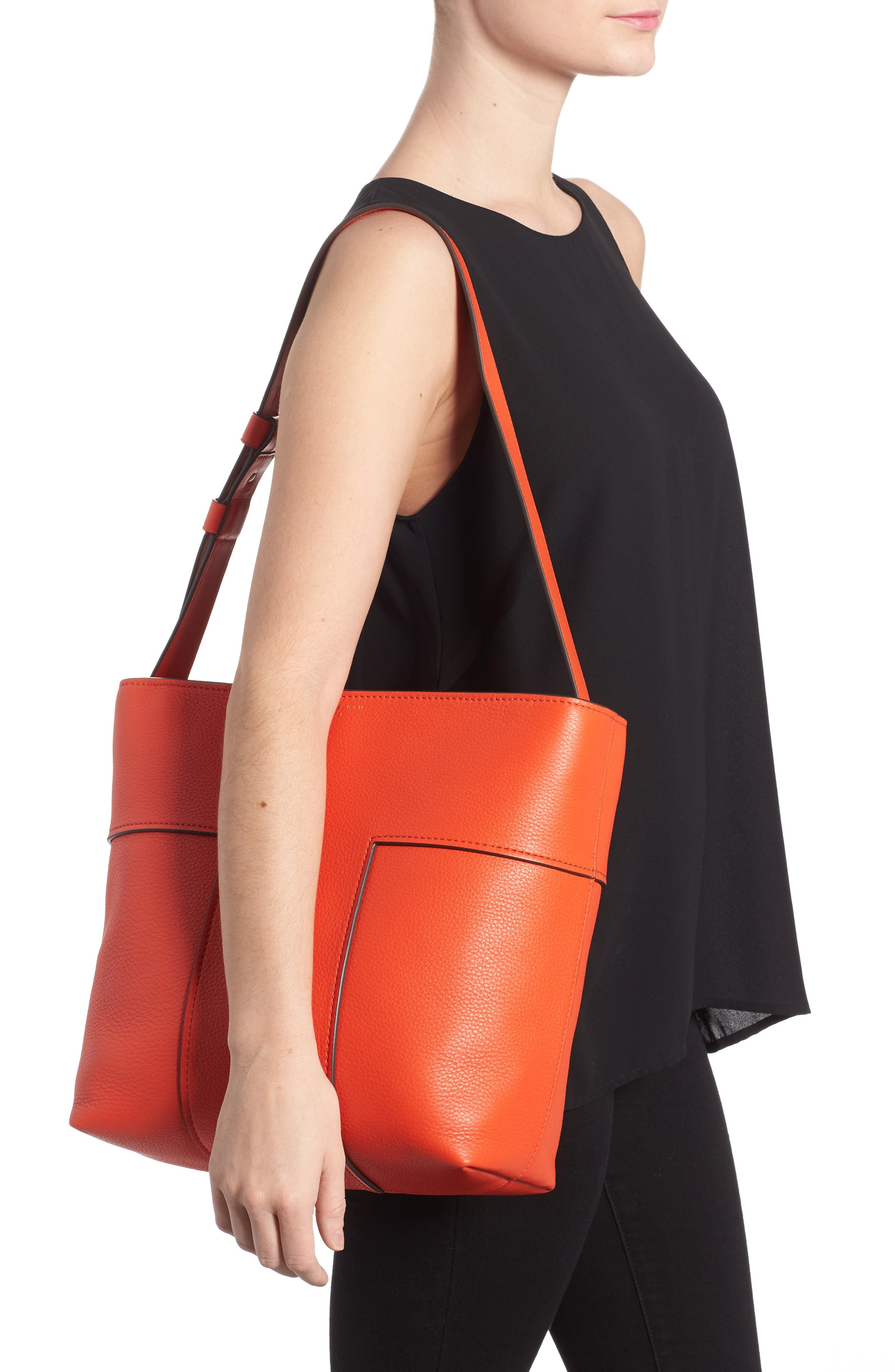 Block-T Pebbled Leather Hobo,                             Alternate thumbnail 2, color,                             Spicy Orange