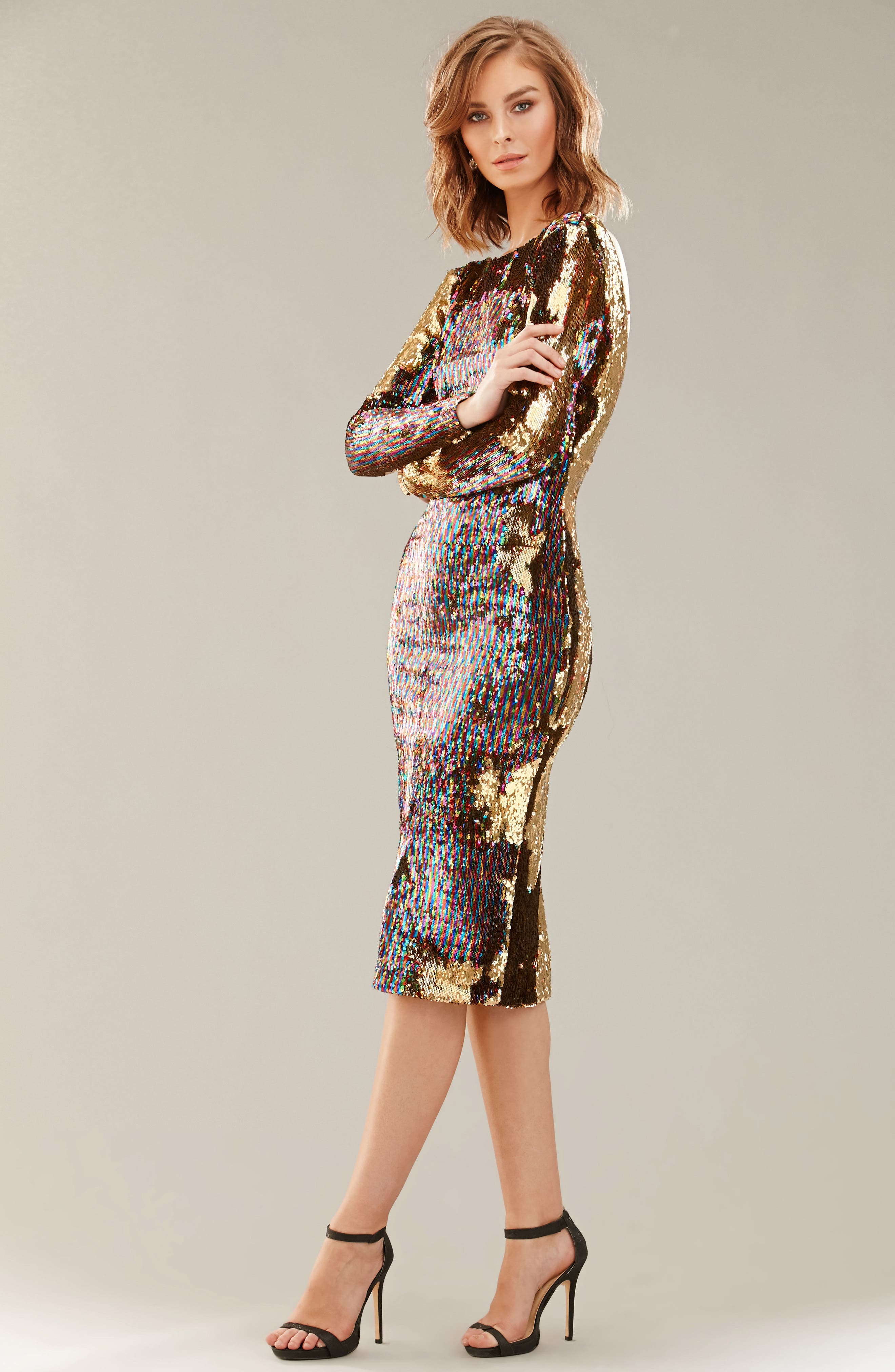 Emery Scoop Back Reversible Sequin Body-Con Dress,                             Alternate thumbnail 5, color,                             Multi/ Gold