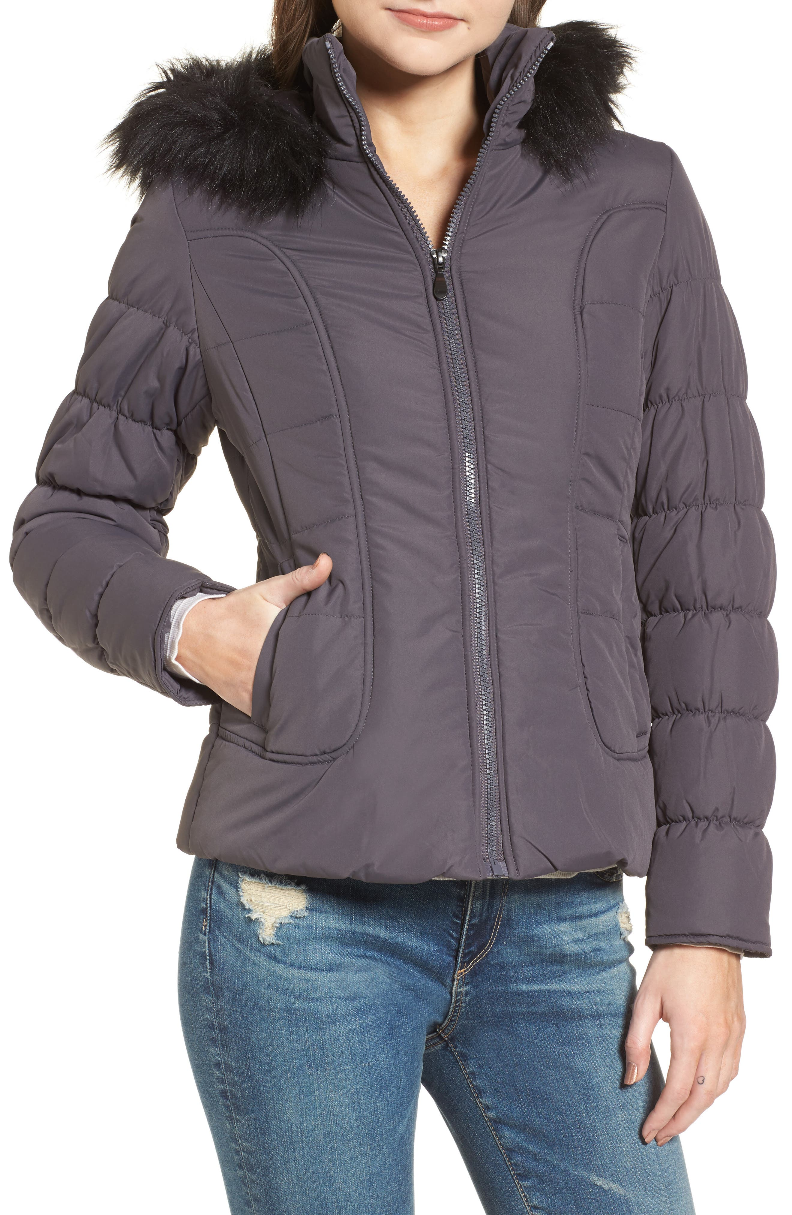 Quilted Jacket with Faux Fur Collar,                             Alternate thumbnail 4, color,                             Concrete