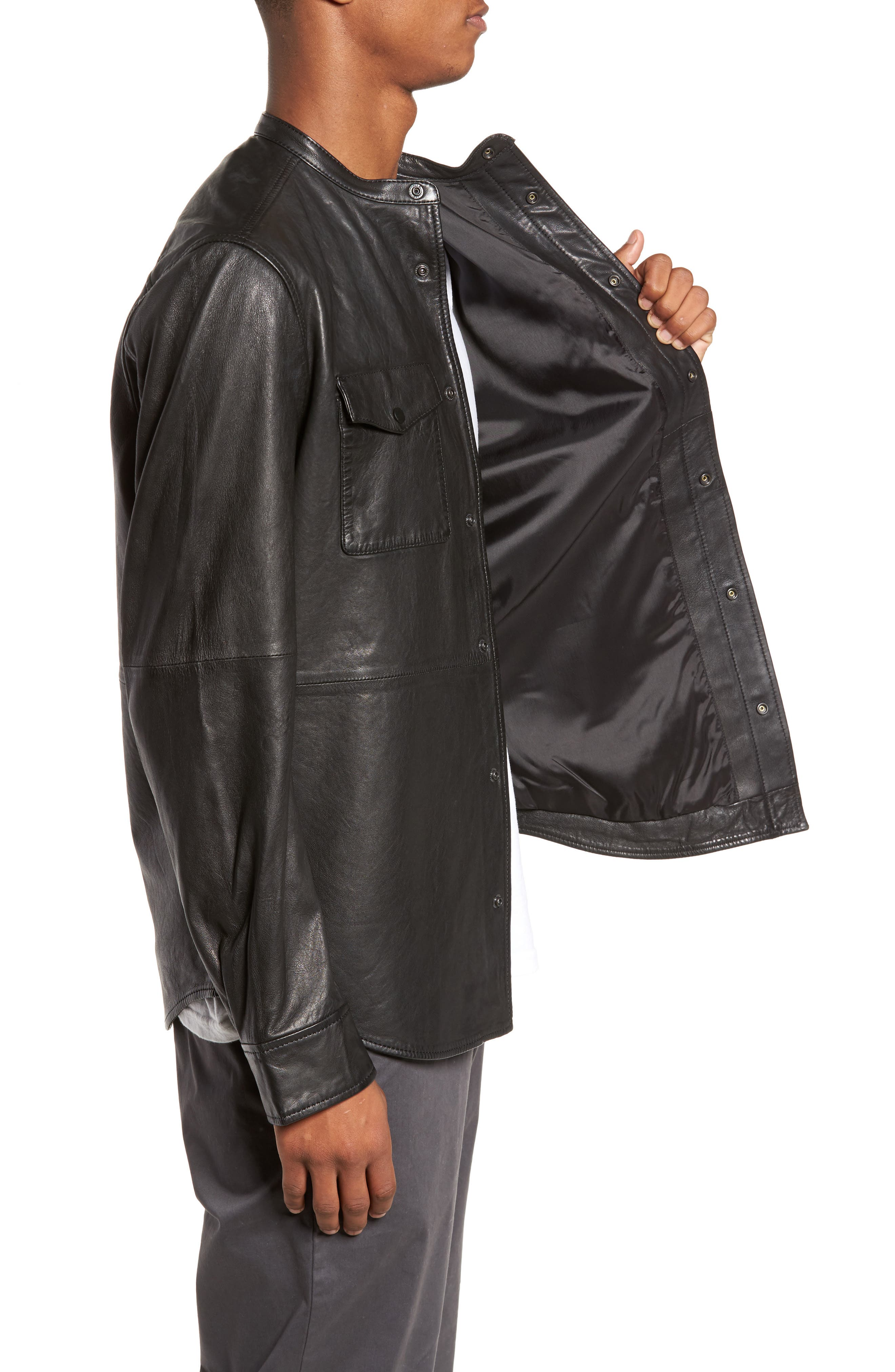 Atwater Leather Shirt Jacket,                             Alternate thumbnail 3, color,                             Black