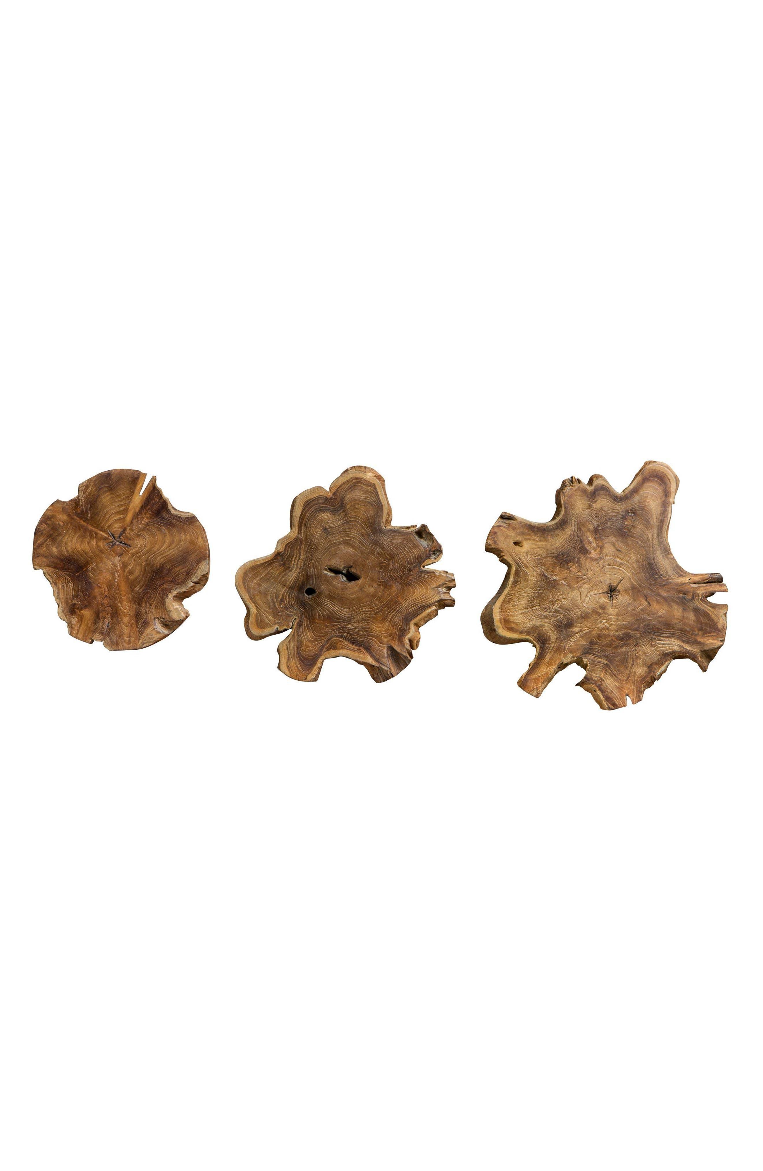 Kalani Set of 3 Wood Decorations,                         Main,                         color, Brown