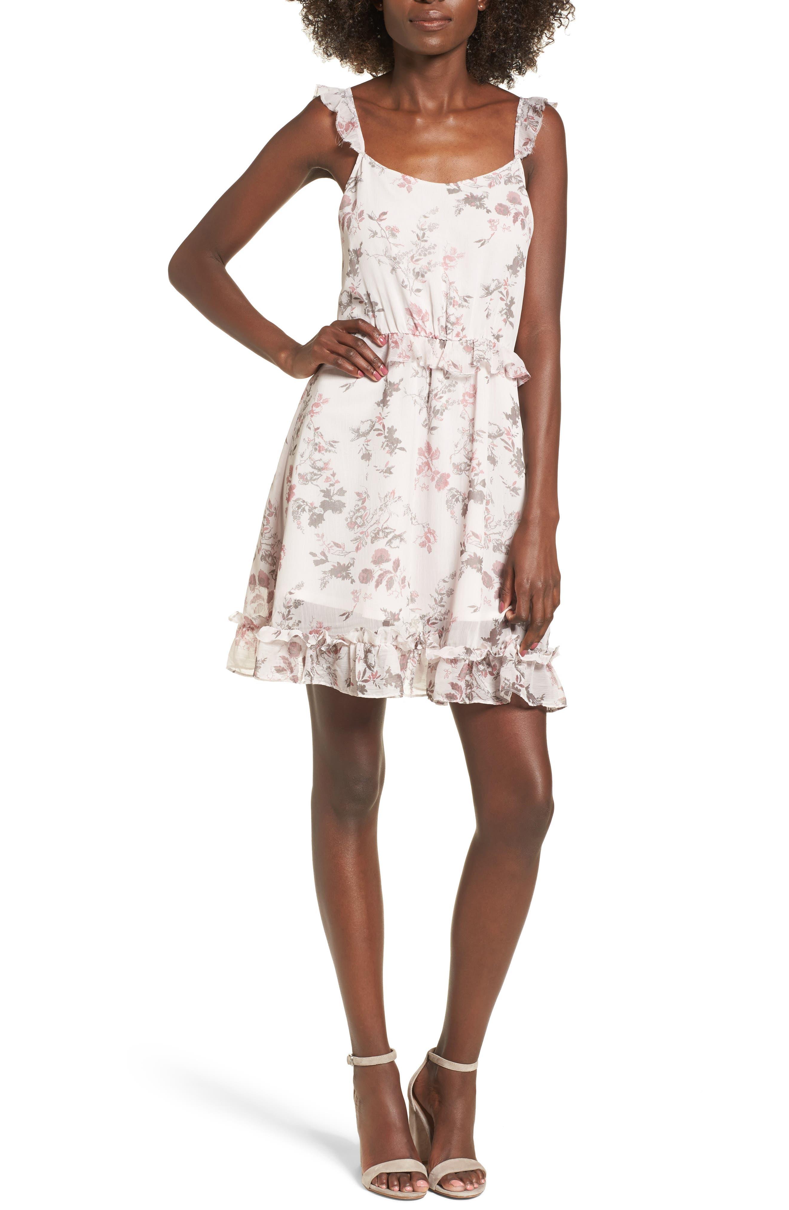 Ruffle Dress,                             Main thumbnail 1, color,                             Pink Ice Tonal Toile