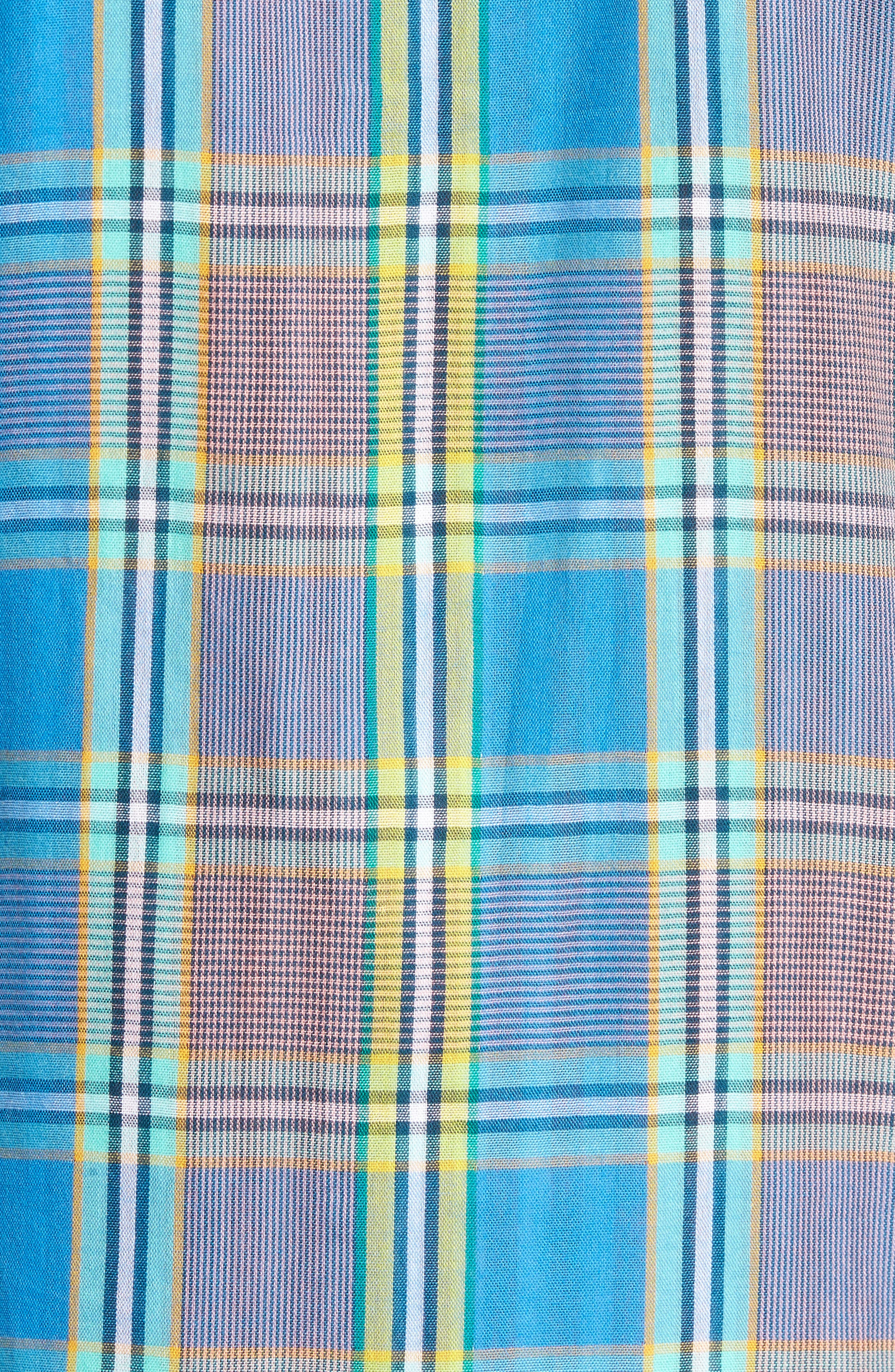 Short Sleeve Plaid Duofold Shirt,                             Alternate thumbnail 5, color,                             Blue Green Plaid Duo Fold