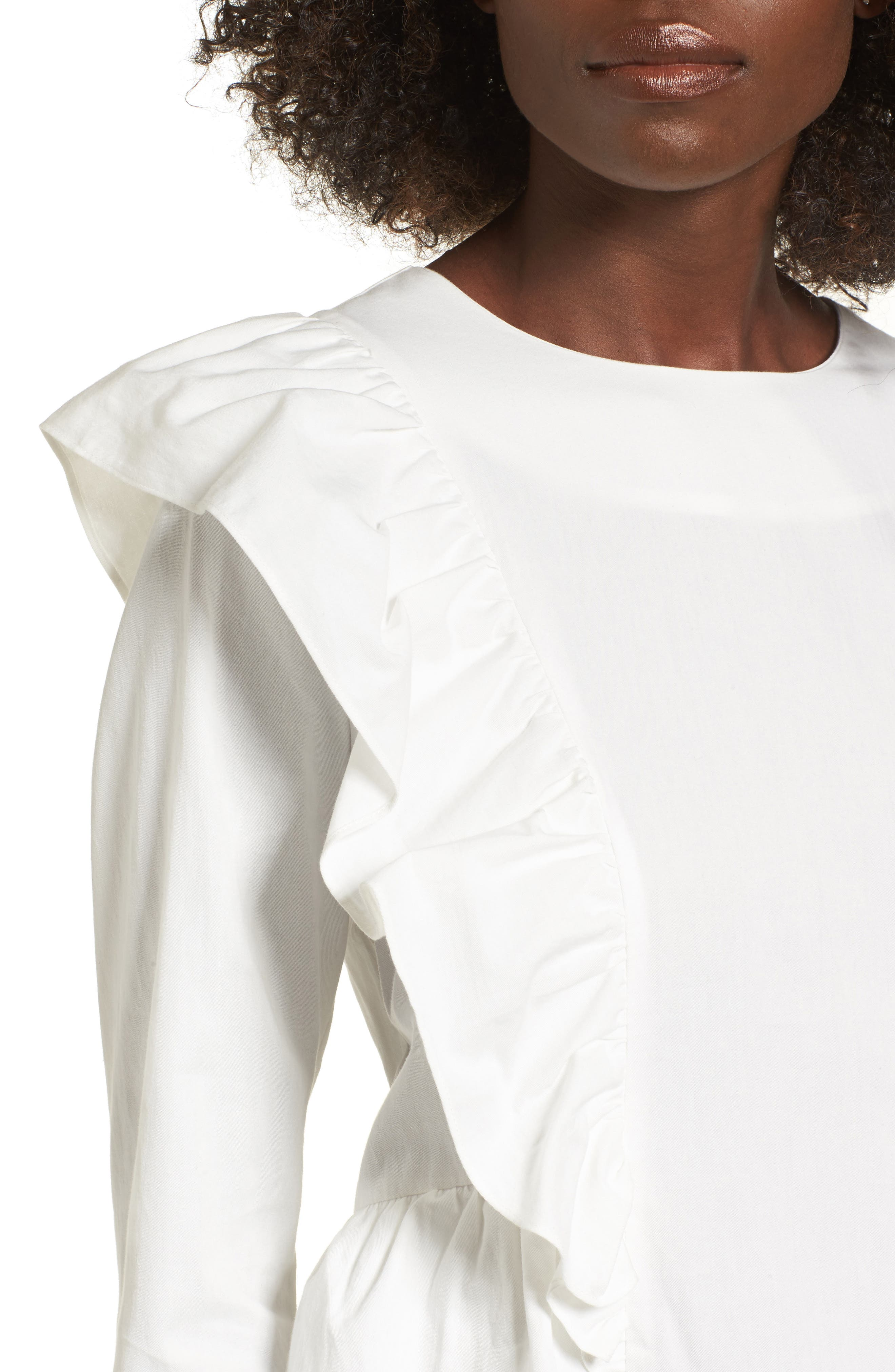 Ruffle Front Top,                             Alternate thumbnail 4, color,                             White