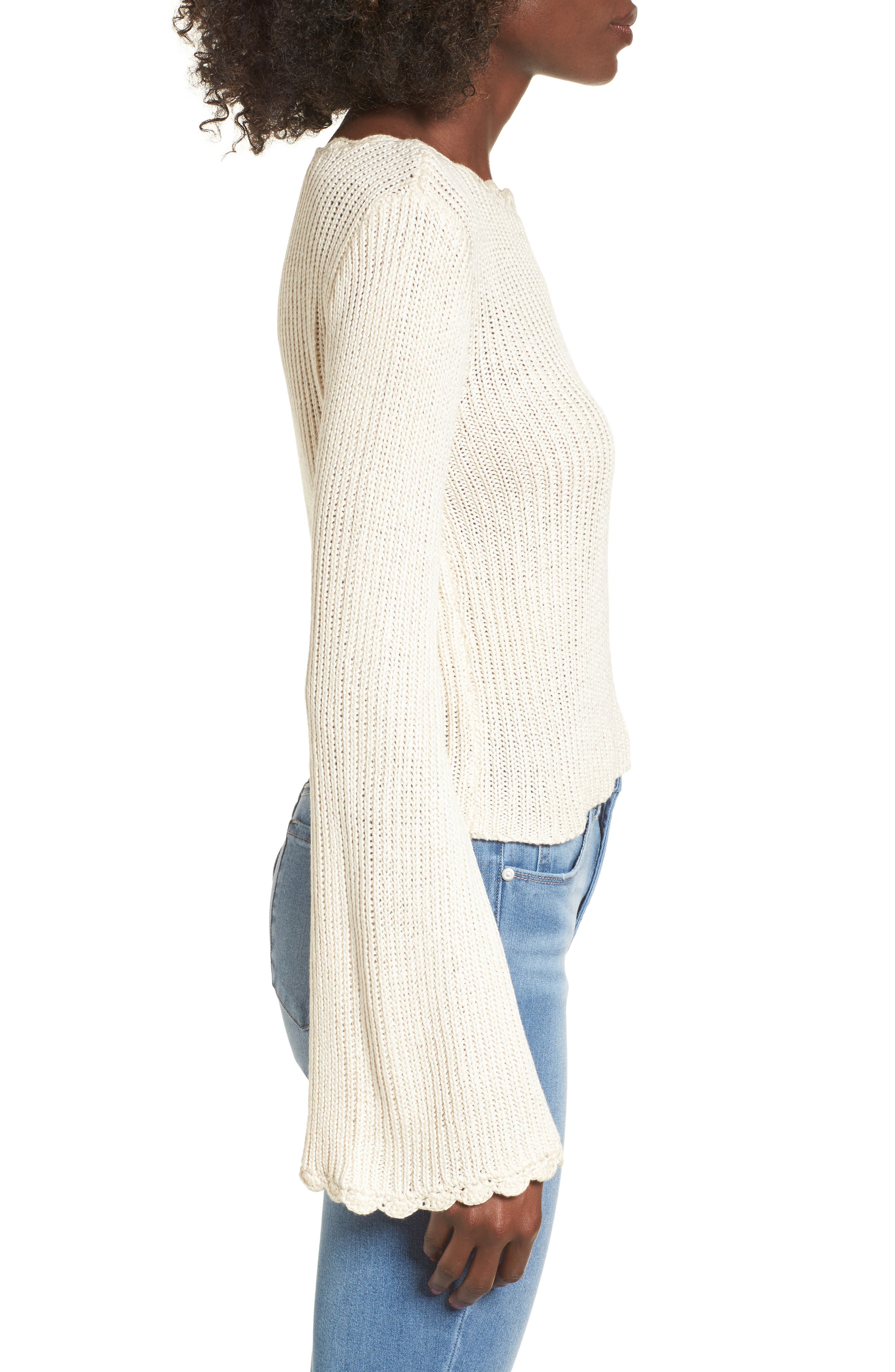 Scallop Edge Sweater,                             Alternate thumbnail 3, color,                             Ivory