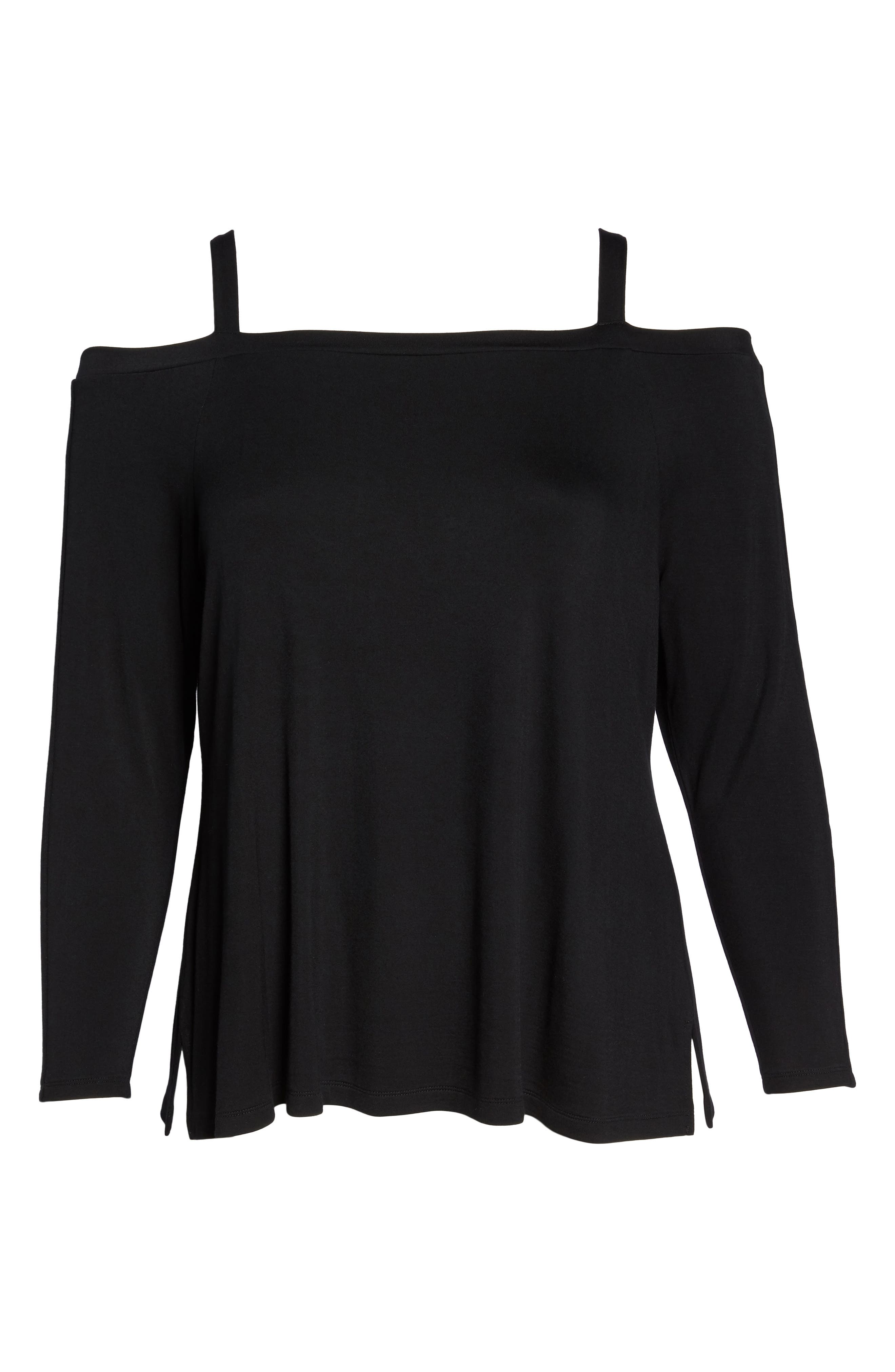 Strappy Long Sleeve Tee,                             Alternate thumbnail 7, color,                             Black