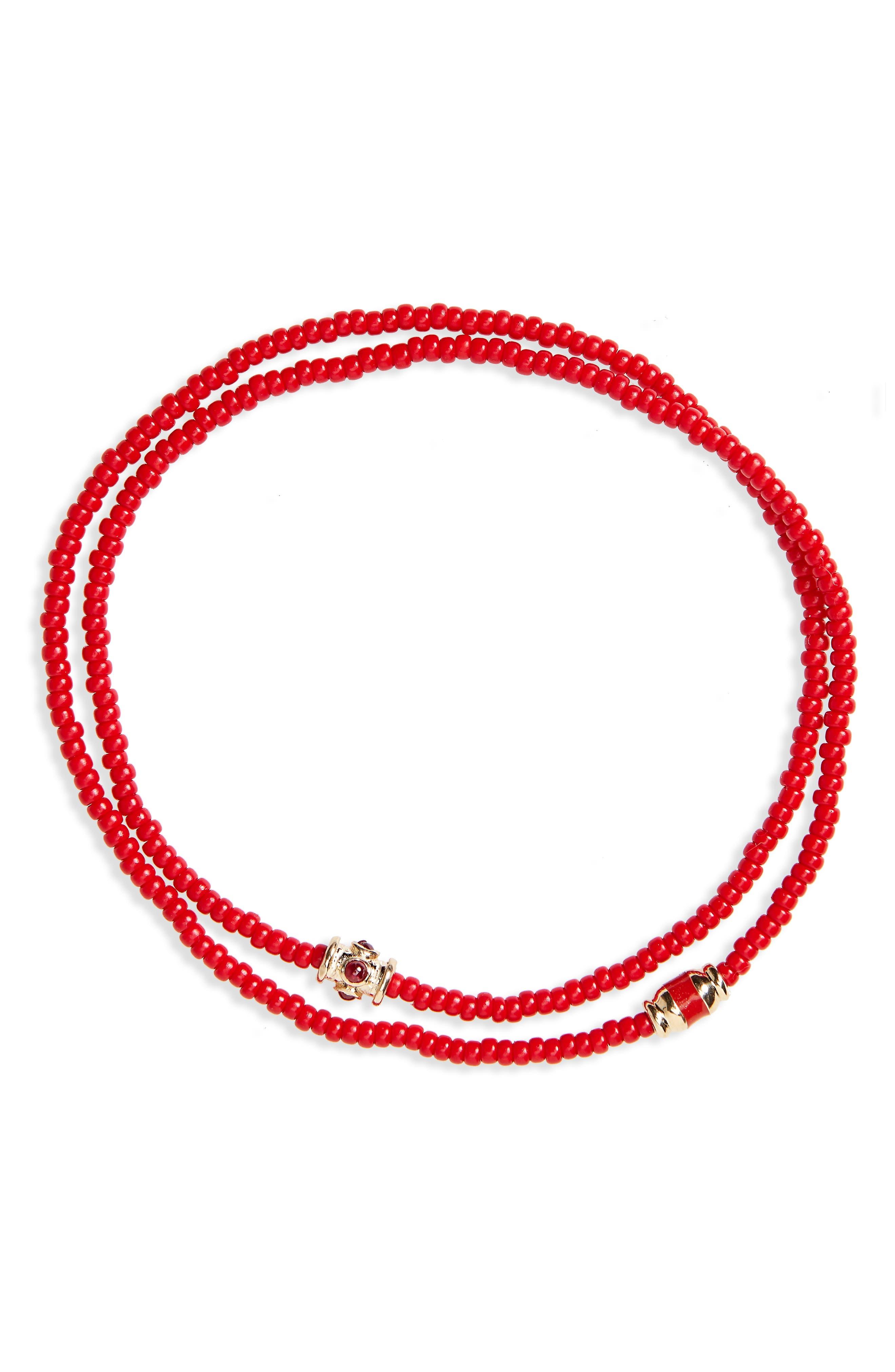 Main Image - Luis Morais Ruby and Gold Enamel Wrap Bracelet