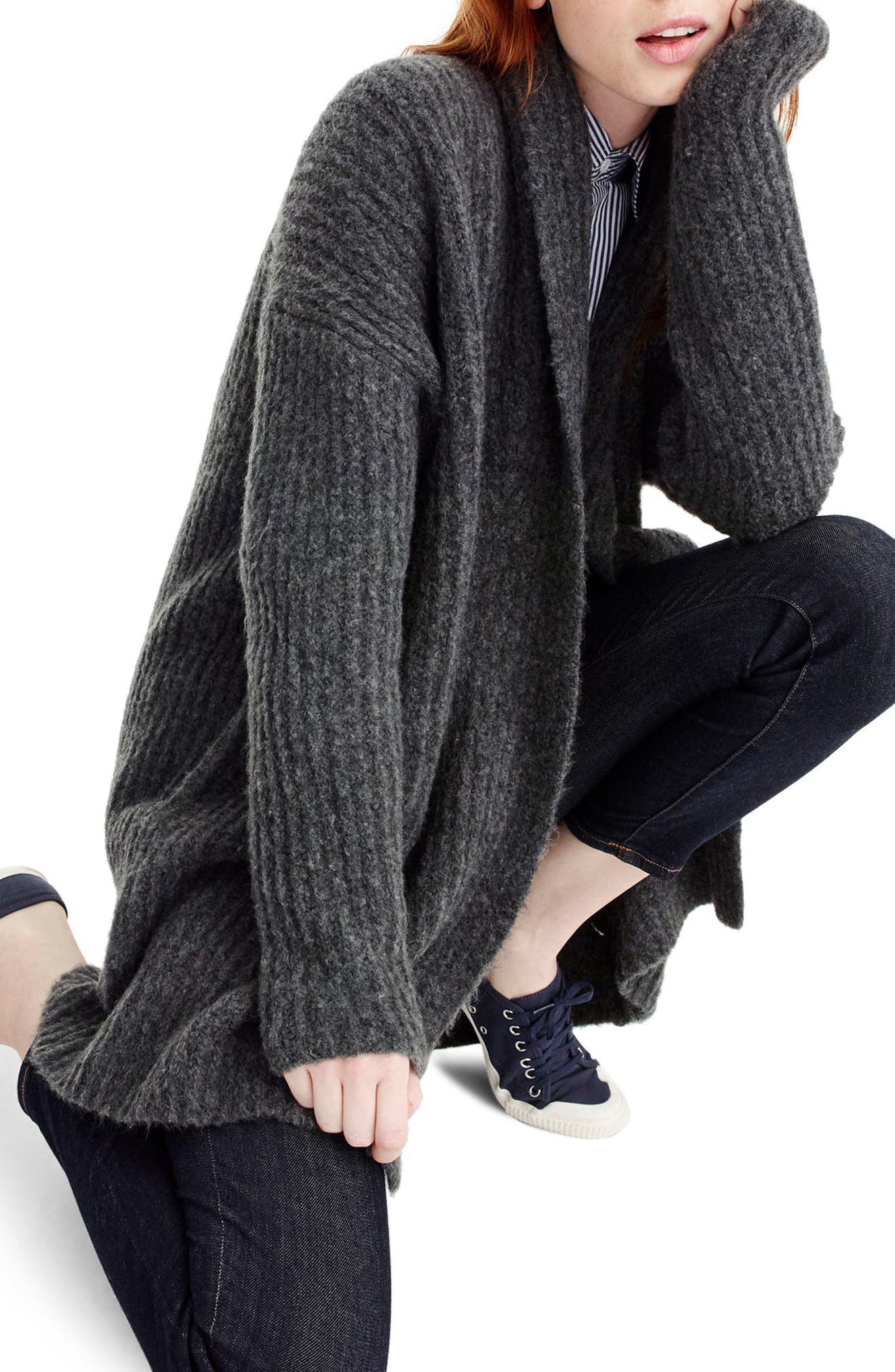 Ribbed Shawl Cardigan,                         Main,                         color, Heather Carbon