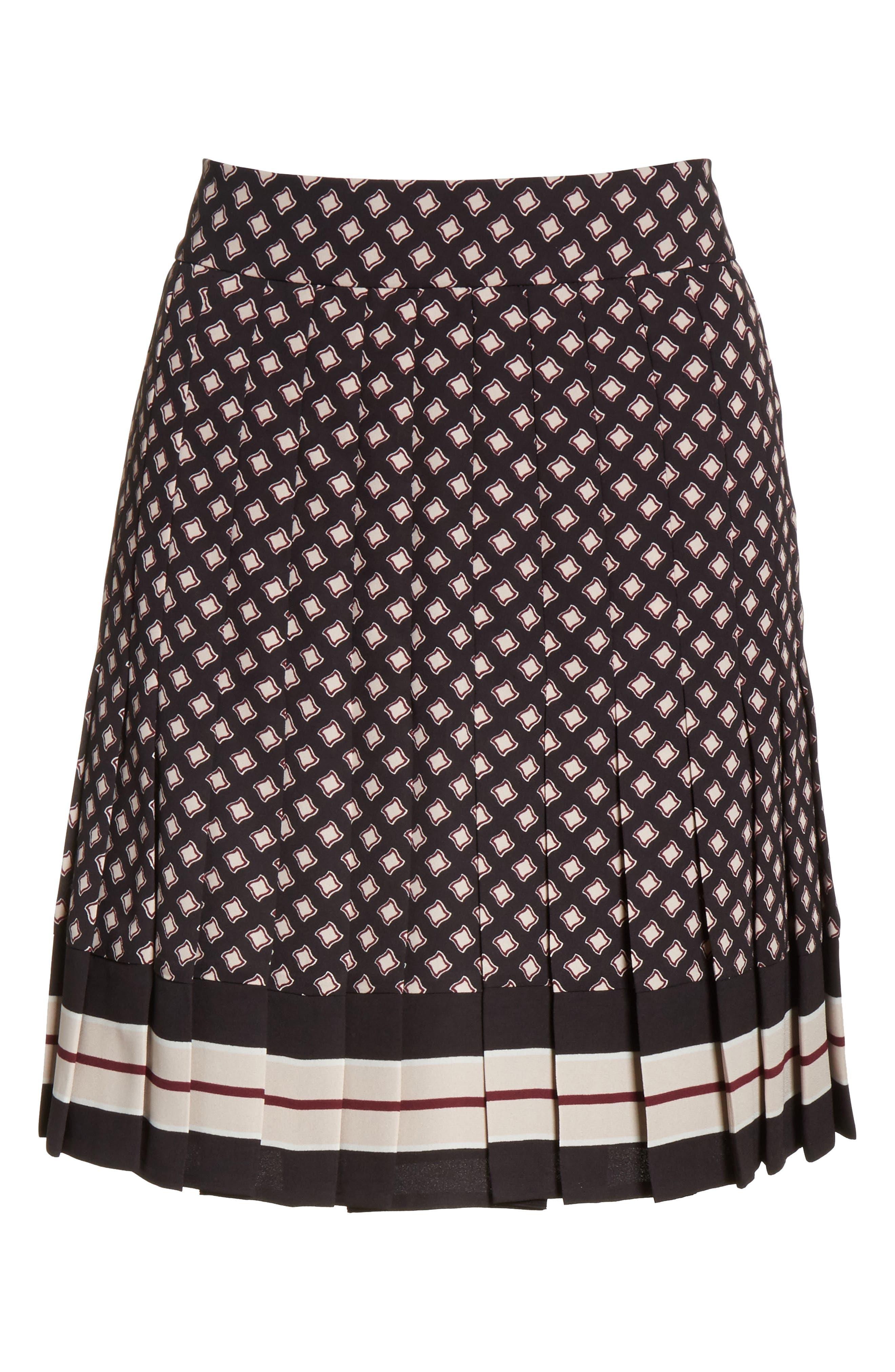 pleated skirt,                             Alternate thumbnail 6, color,                             Black