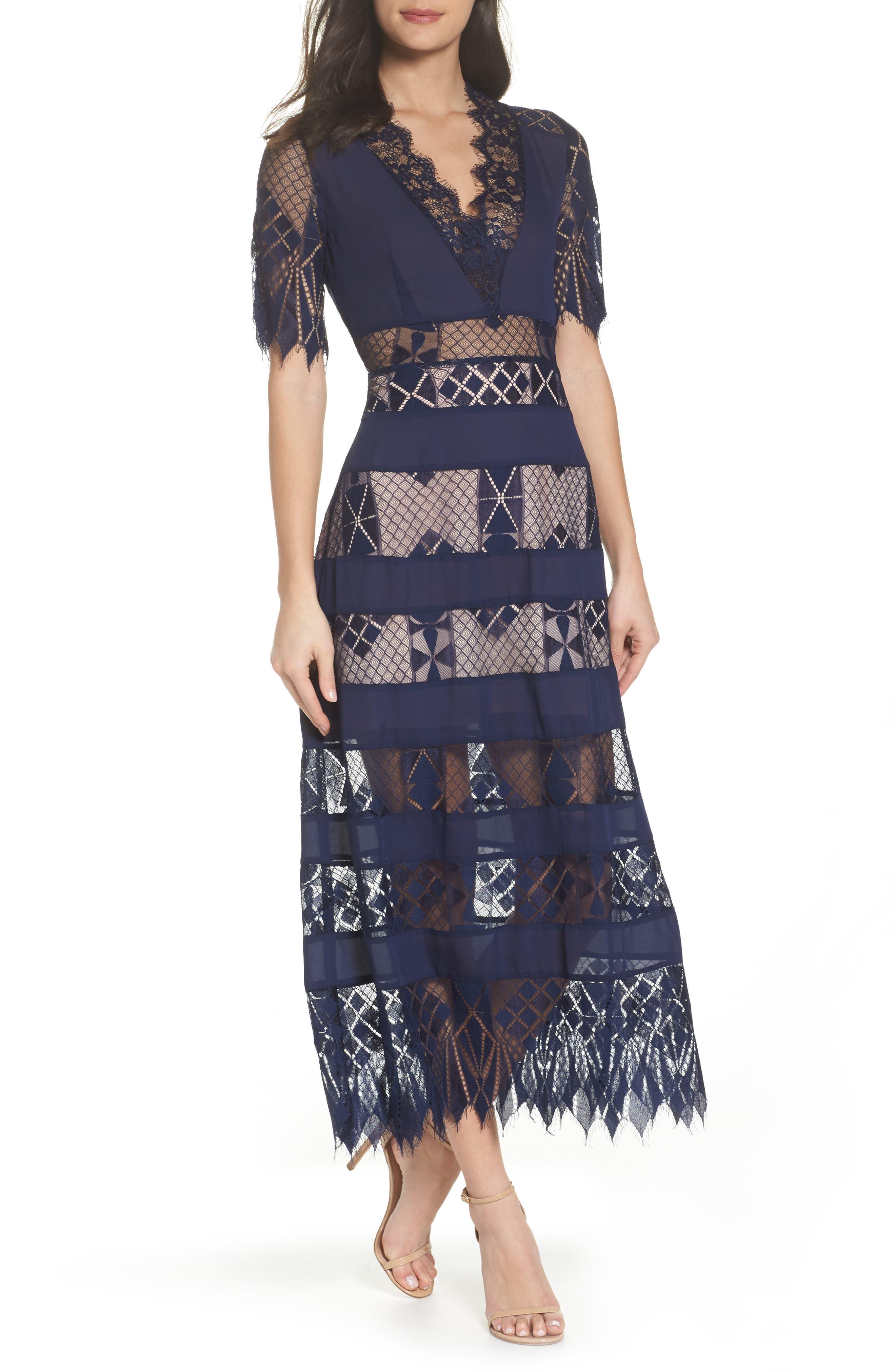 Bravo Zulu Lacy Paneled Dress,                         Main,                         color, Navy