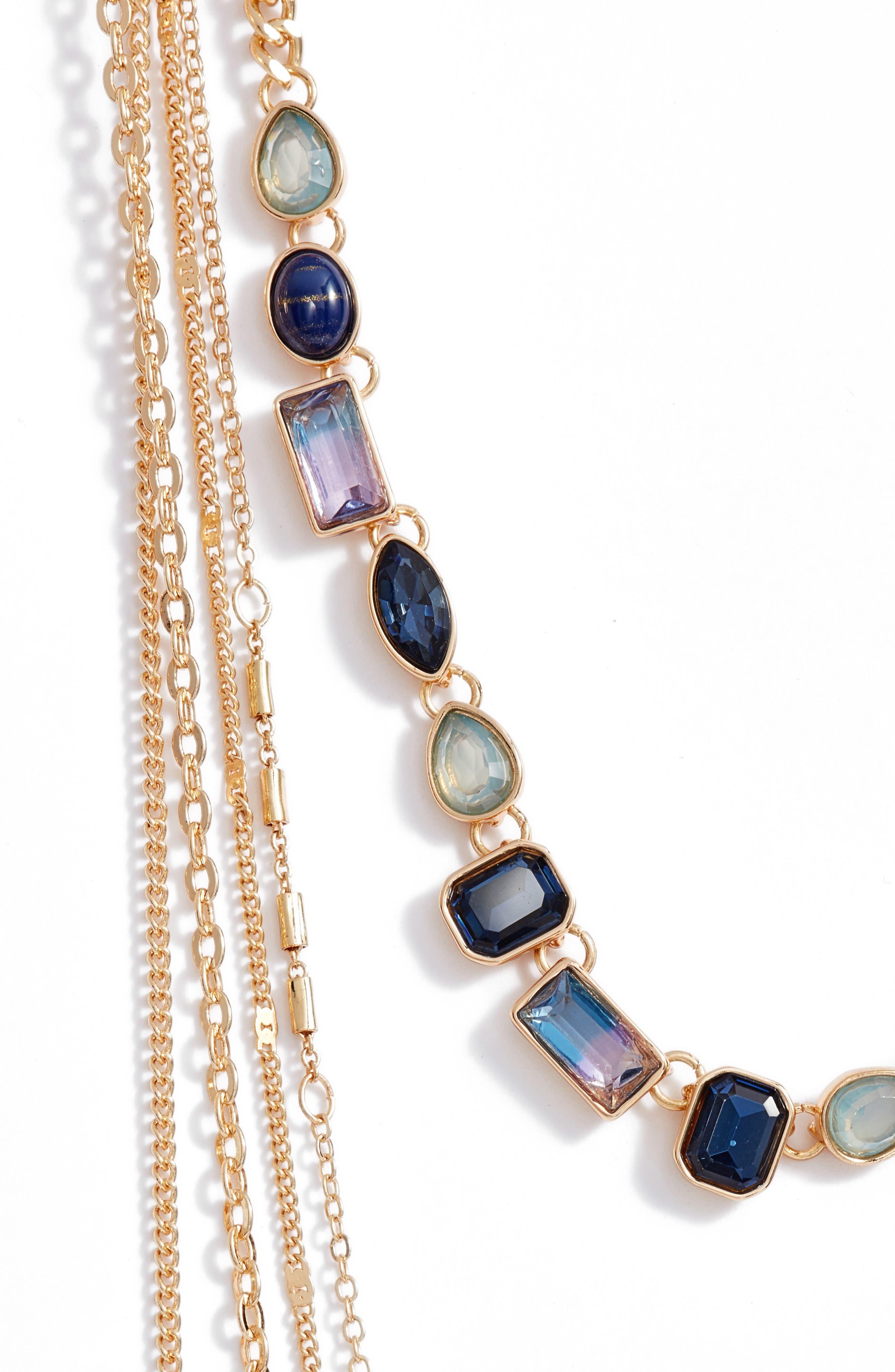Crystal Multistrand Choker Necklace,                             Alternate thumbnail 2, color,                             Blue Multi- Gold
