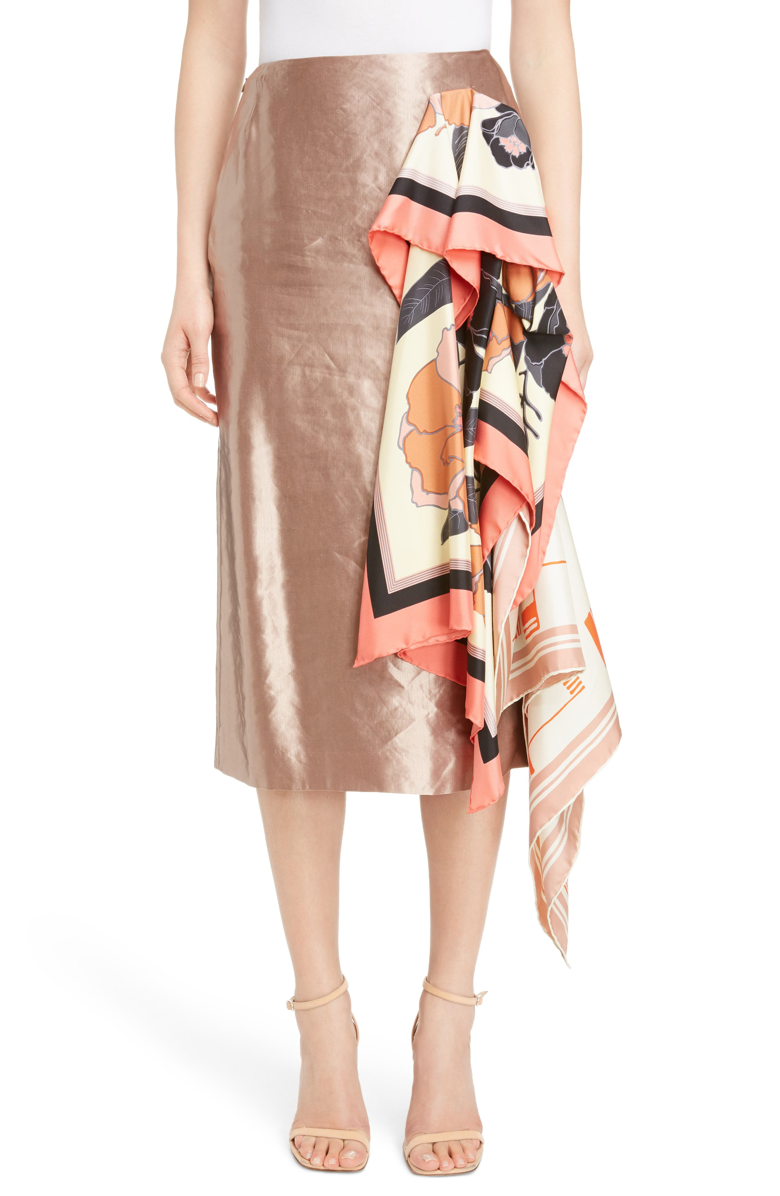 Scarf Satin Skirt,                         Main,                         color, Dust