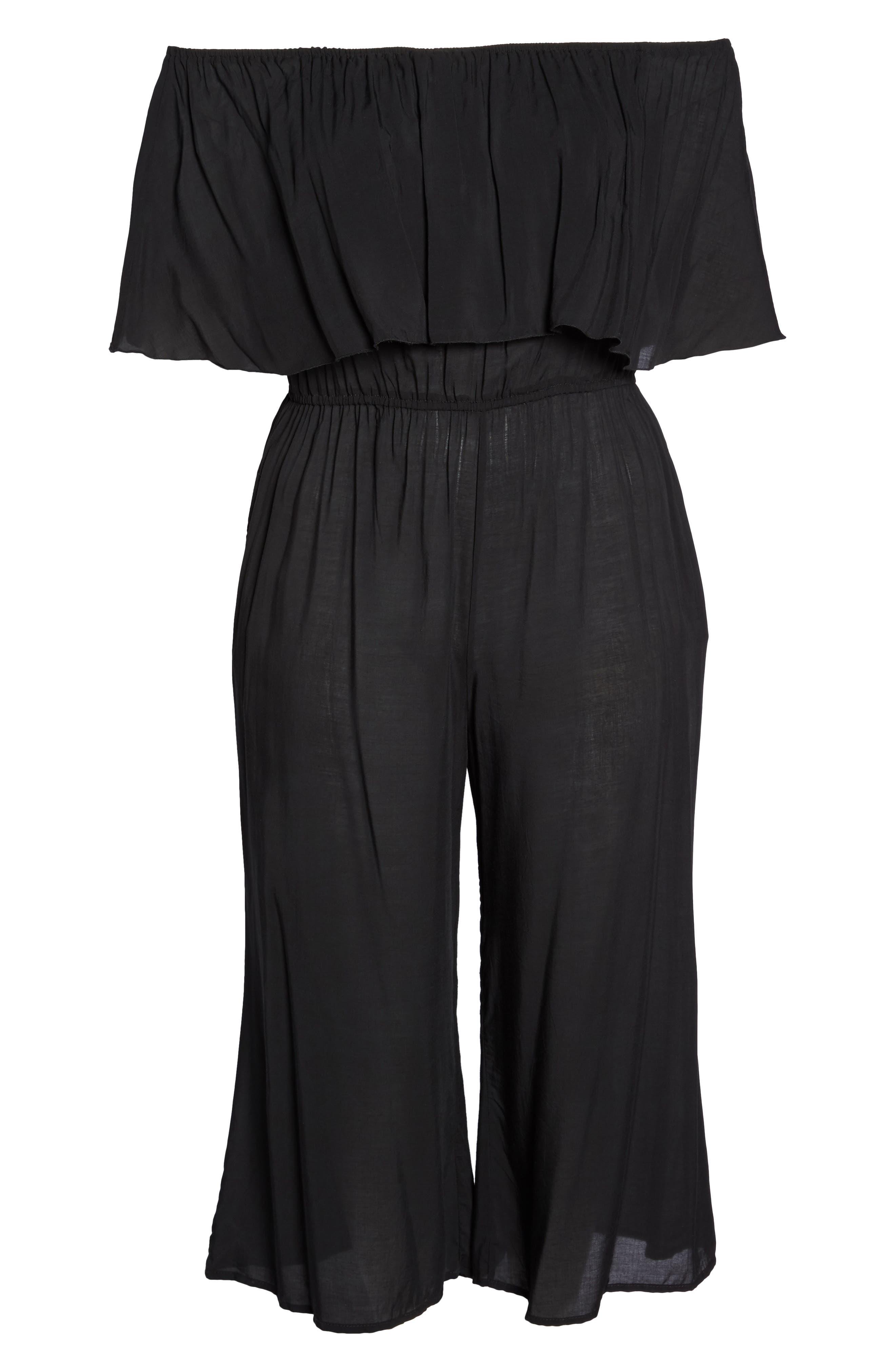 Alternate Image 6  - Elan Off the Shoulder Cover-Up Jumpsuit (Plus Size)