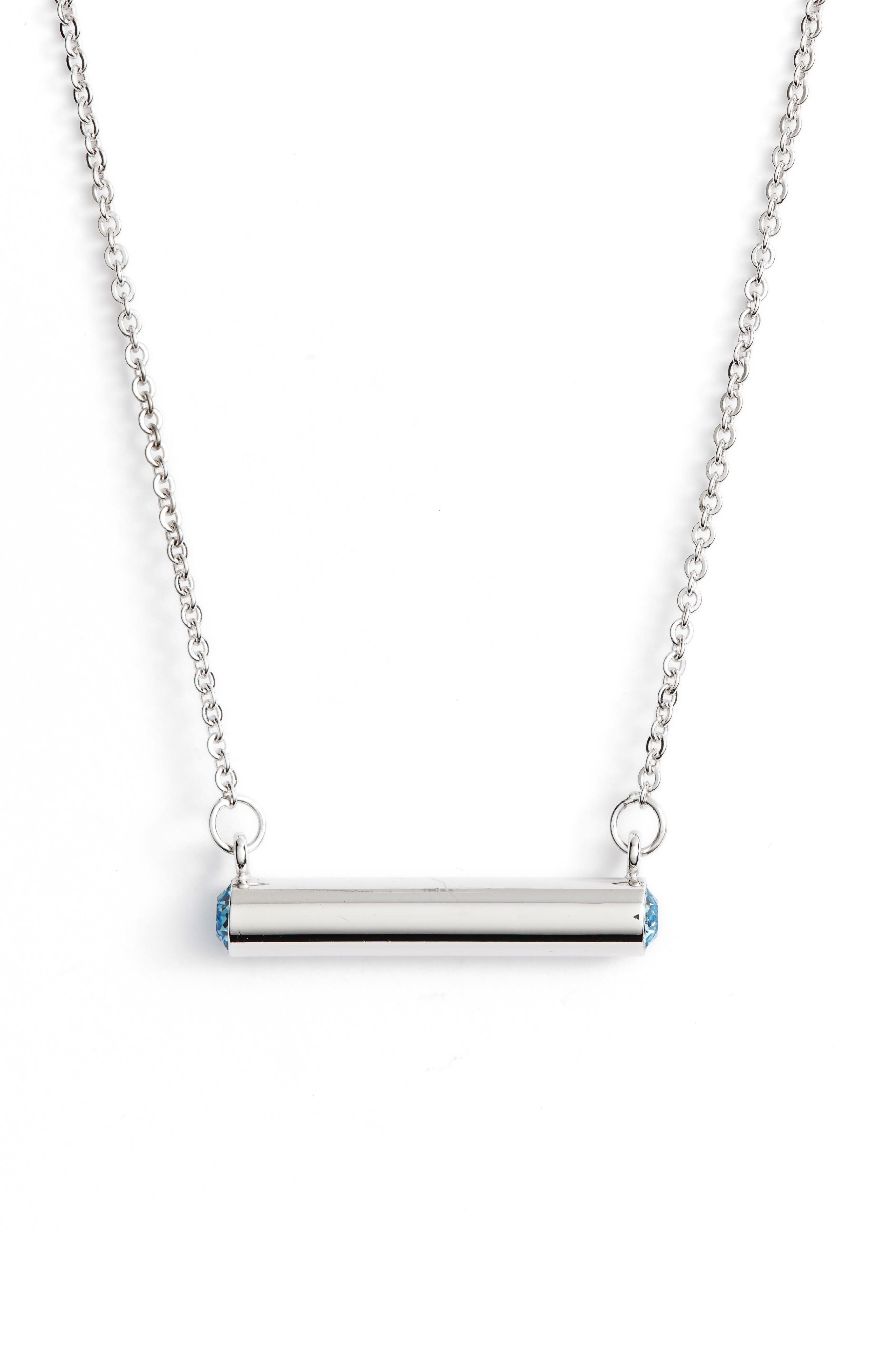 Stella Vale March Crystal Bar Pendant Necklace
