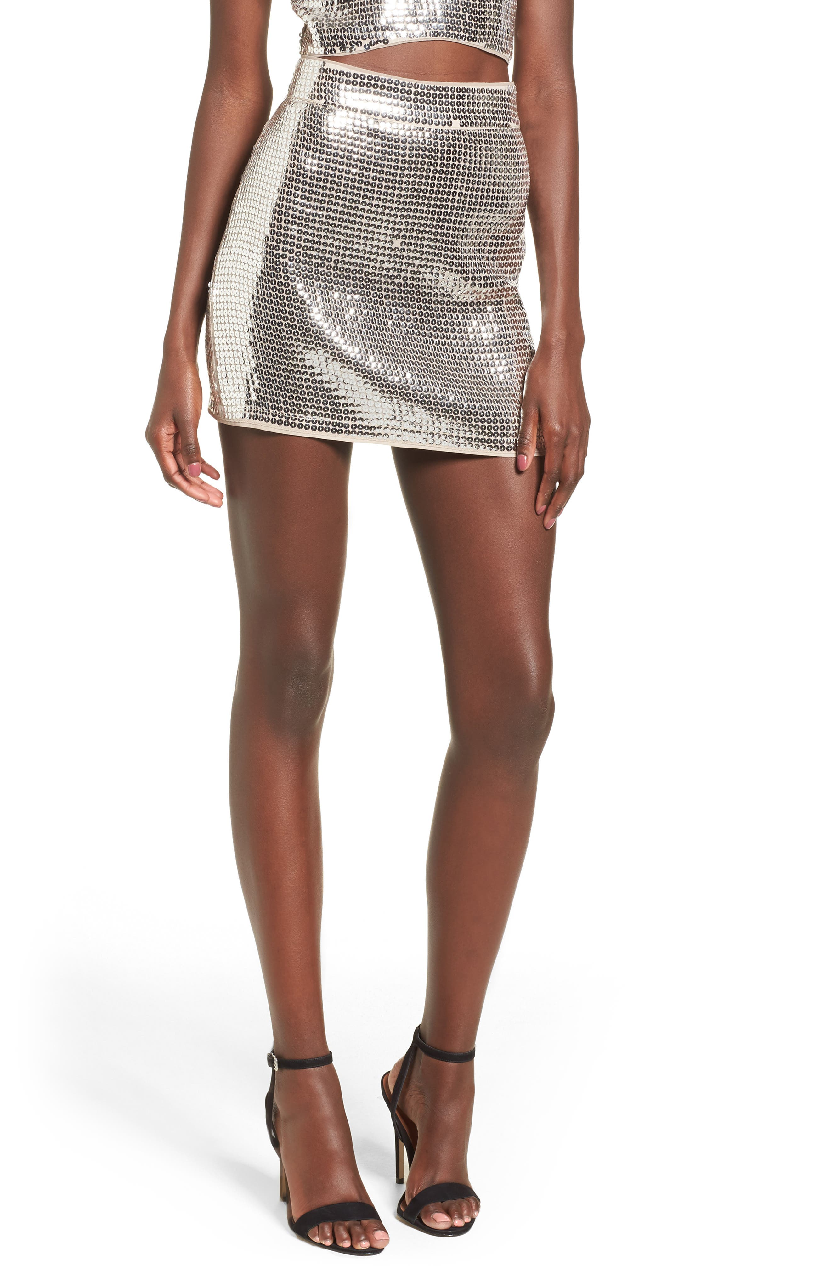 Always This Late Skirt,                             Main thumbnail 1, color,                             Silver/ Nude